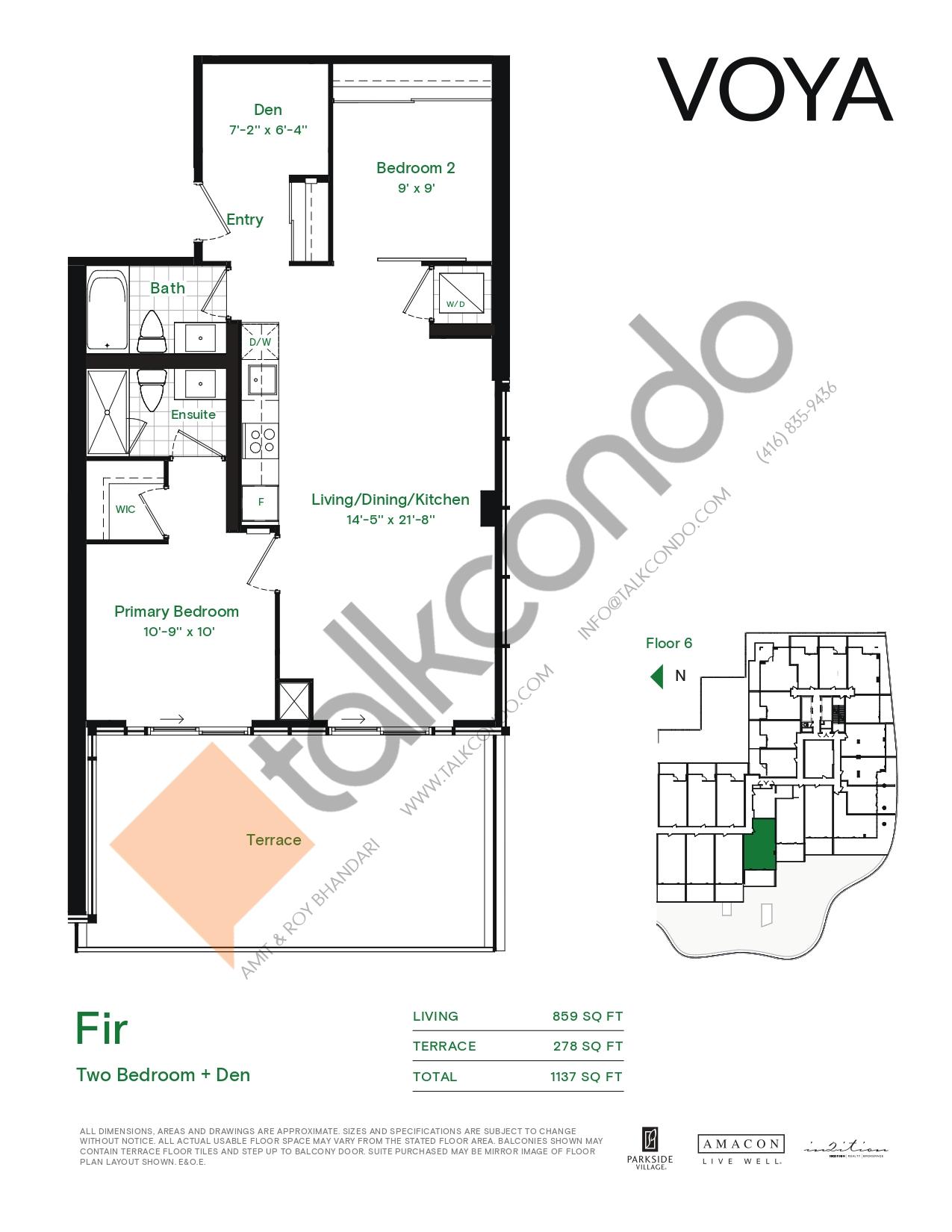 Fir (Podium) Floor Plan at Voya at Parkside Village Condos - 859 sq.ft
