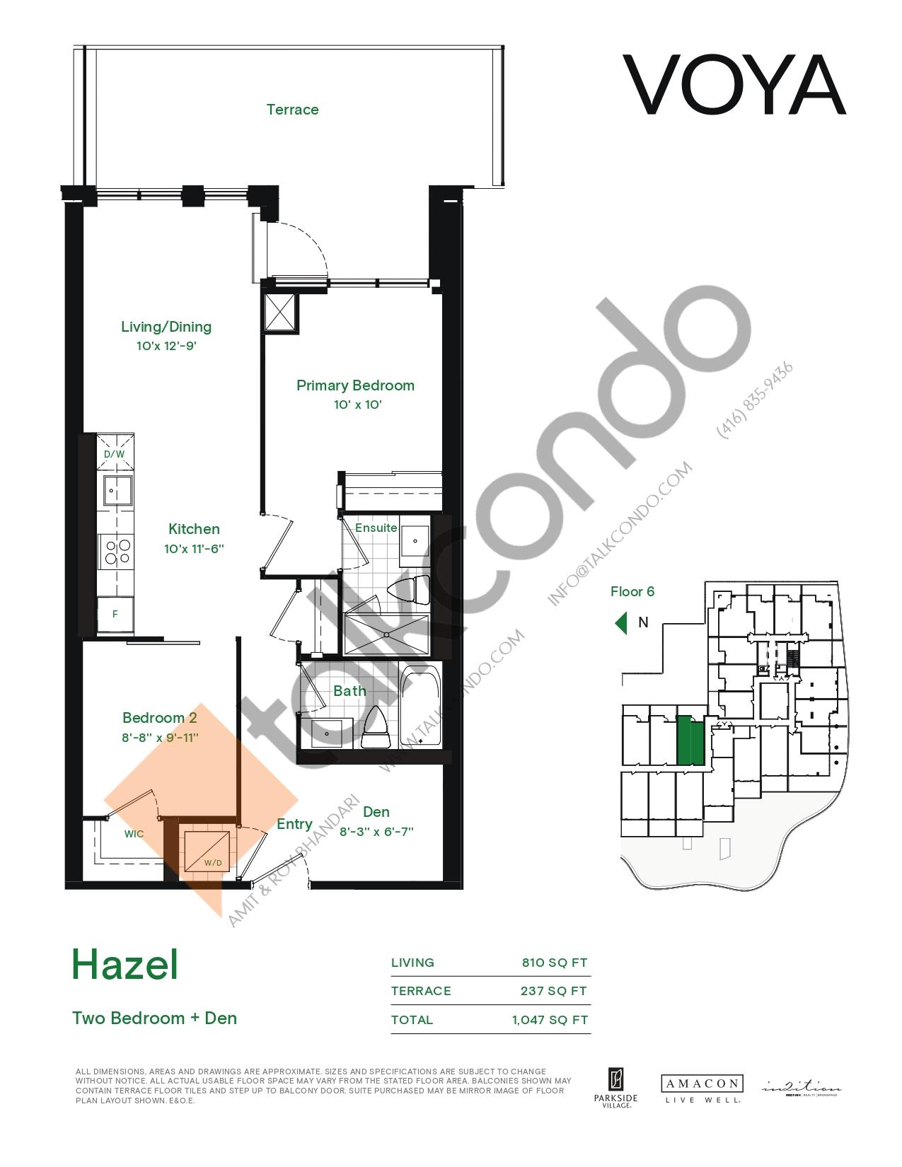 Hazel (Podium) Floor Plan at Voya at Parkside Village Condos - 810 sq.ft