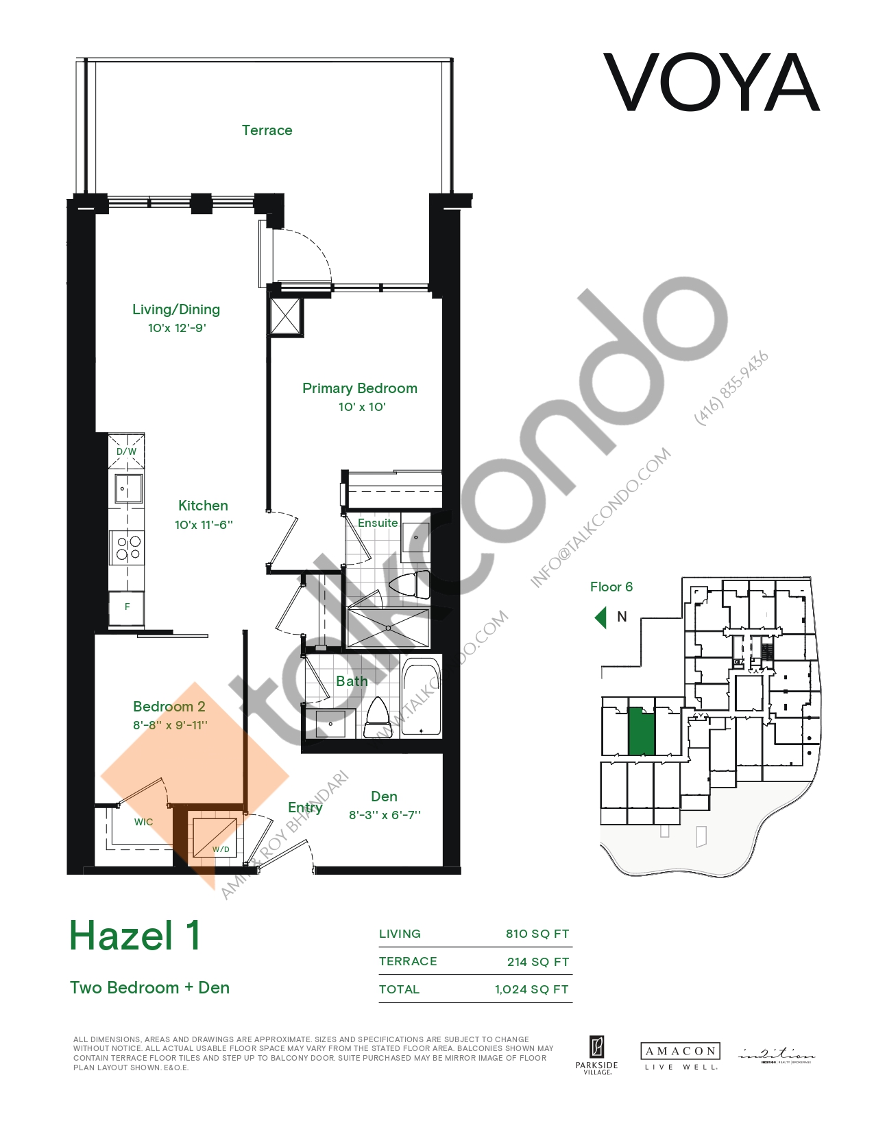 Hazel 1 (Podium) Floor Plan at Voya at Parkside Village Condos - 810 sq.ft
