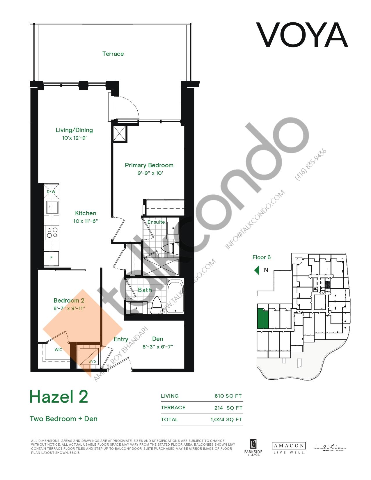 Hazel 2 (Podium) Floor Plan at Voya at Parkside Village Condos - 810 sq.ft