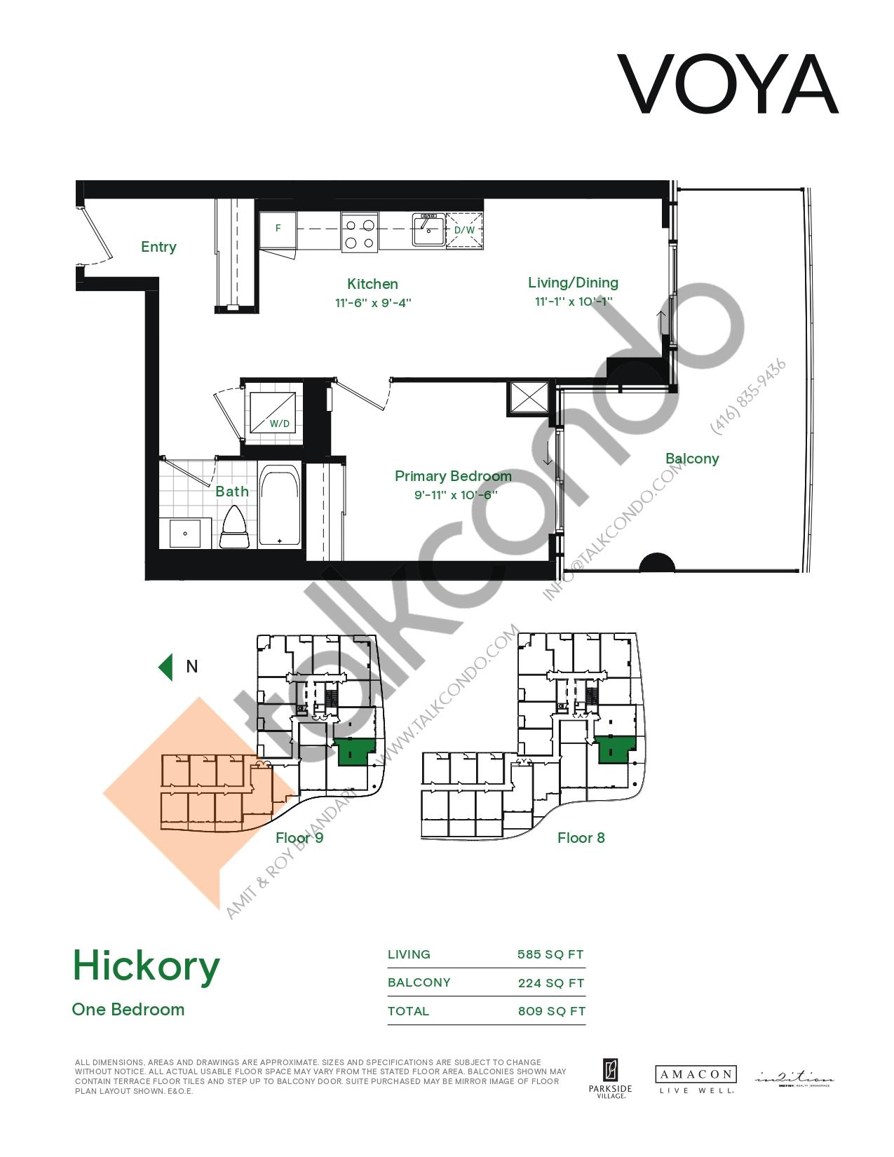 Hickory (Podium) Floor Plan at Voya at Parkside Village Condos - 585 sq.ft