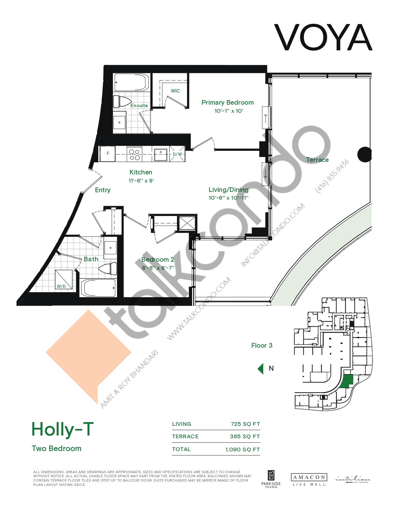 Holly-T (Podium) Floor Plan at Voya at Parkside Village Condos - 725 sq.ft