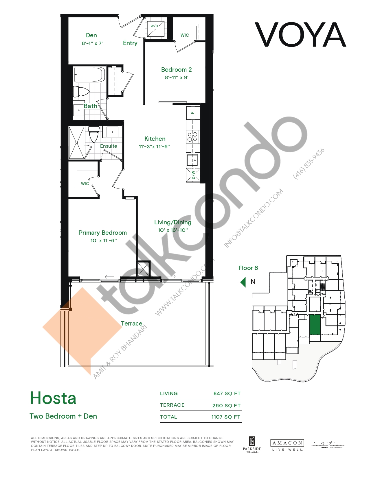 Hosta (Podium) Floor Plan at Voya at Parkside Village Condos - 847 sq.ft