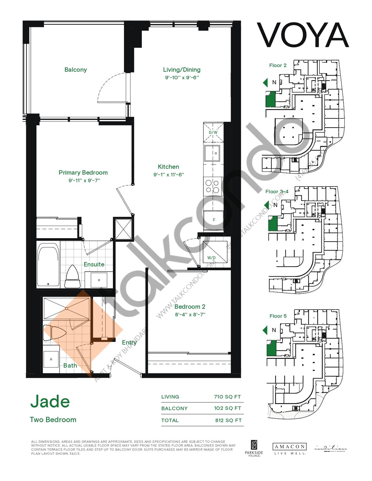 Jade (Podium) Floor Plan at Voya at Parkside Village Condos - 710 sq.ft
