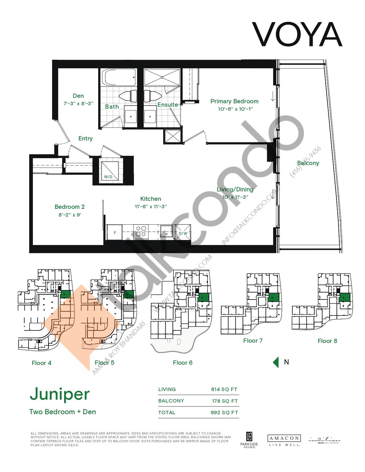 Juniper Floor Plan at Voya at Parkside Village Condos - 814 sq.ft