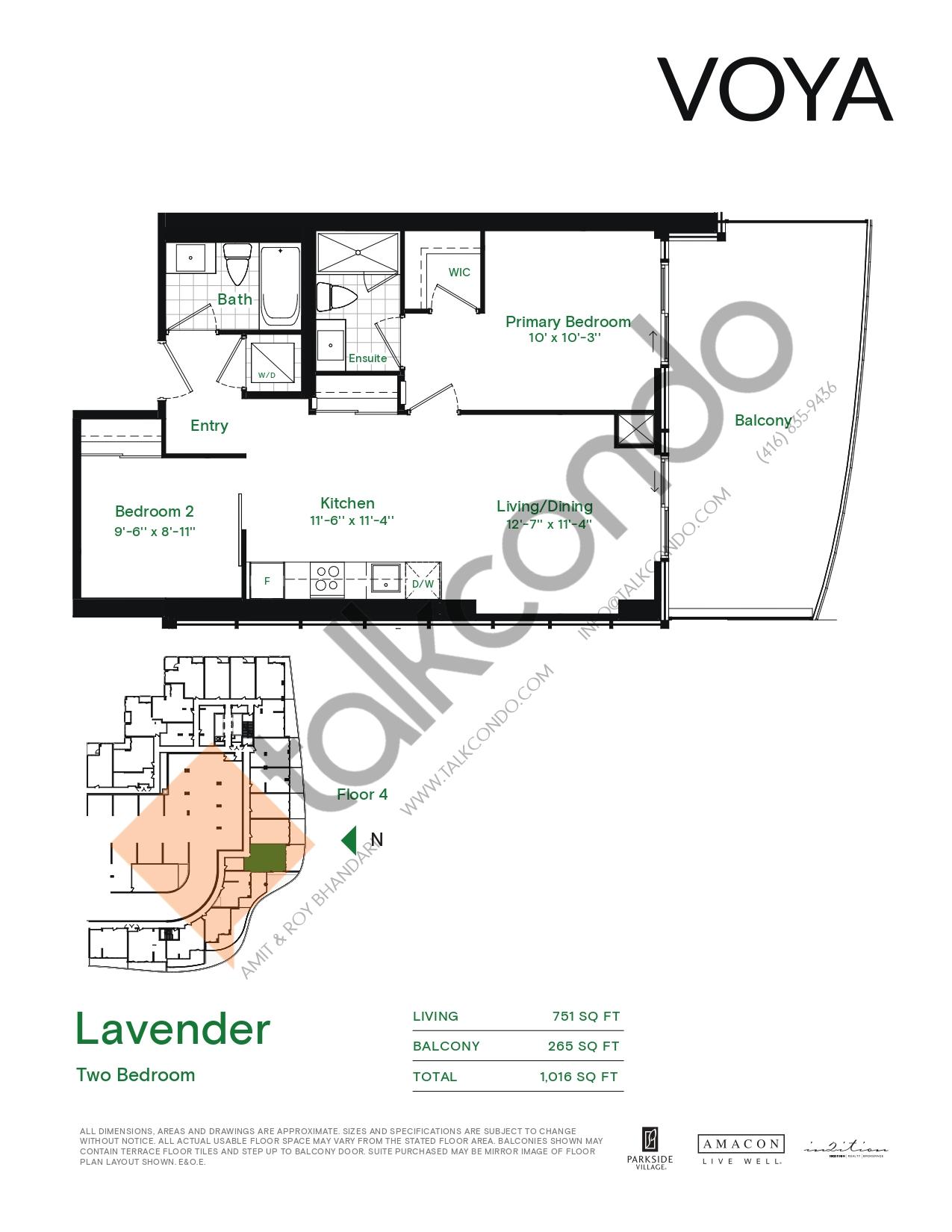Lavender (Podium) Floor Plan at Voya at Parkside Village Condos - 751 sq.ft