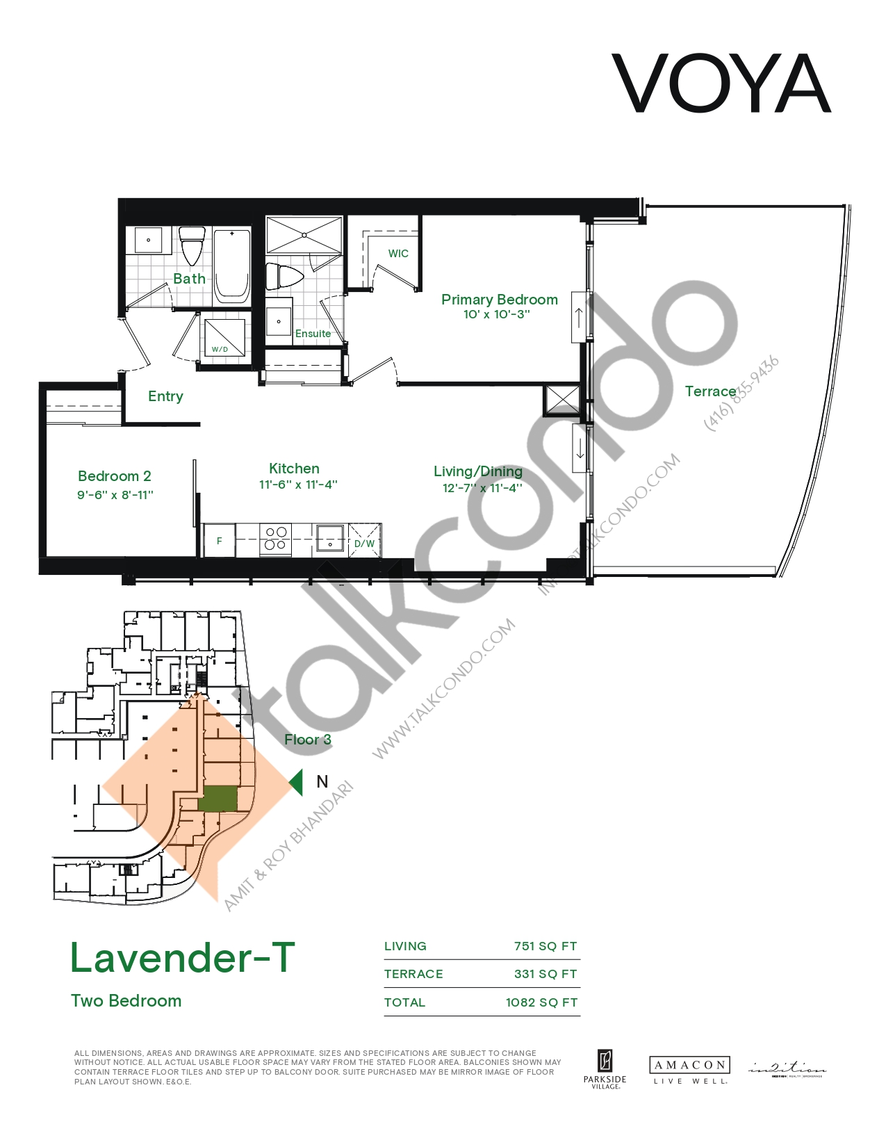 Lavender-T (Podium) Floor Plan at Voya at Parkside Village Condos - 751 sq.ft