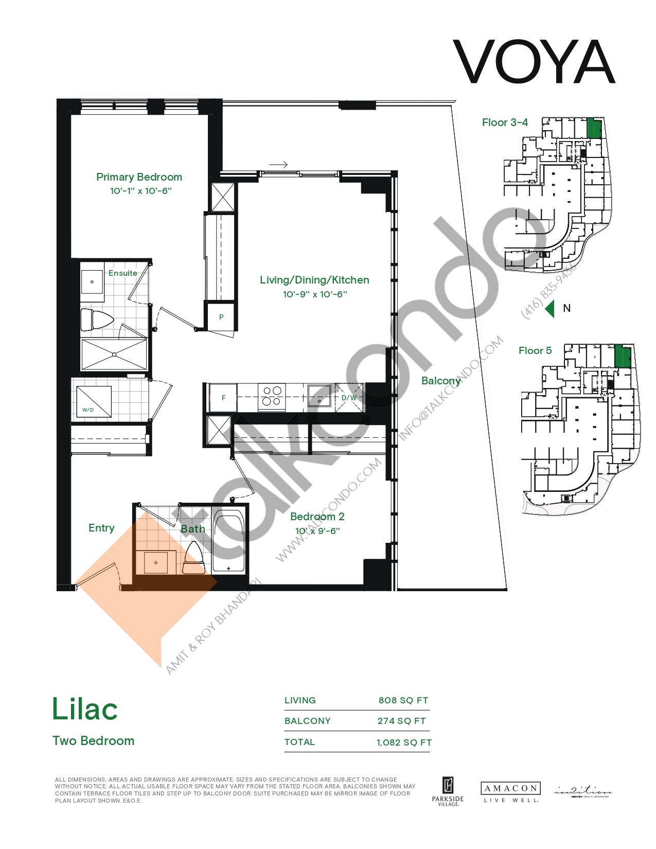 Lilac (Podium) Floor Plan at Voya at Parkside Village Condos - 808 sq.ft