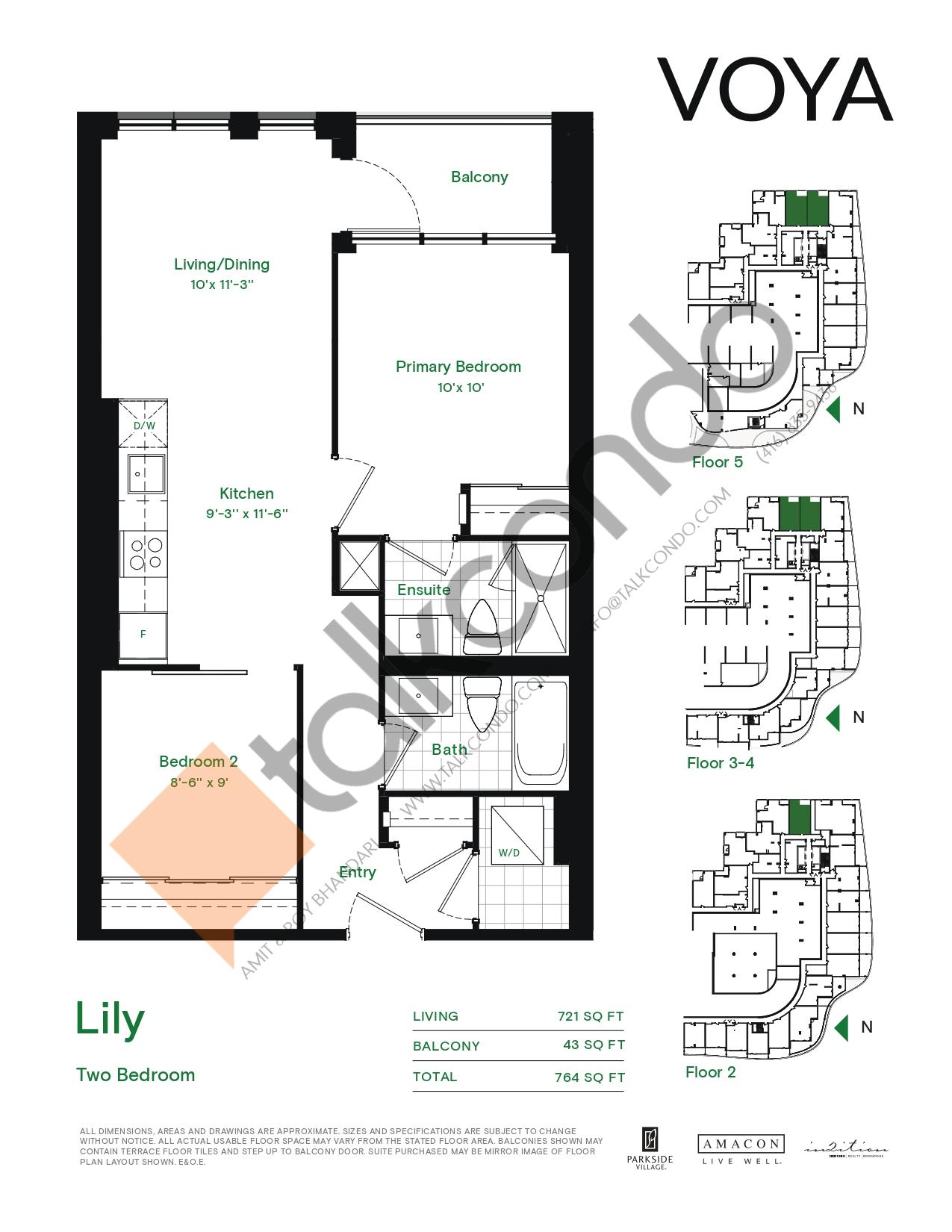 Lily (Podium) Floor Plan at Voya at Parkside Village Condos - 721 sq.ft