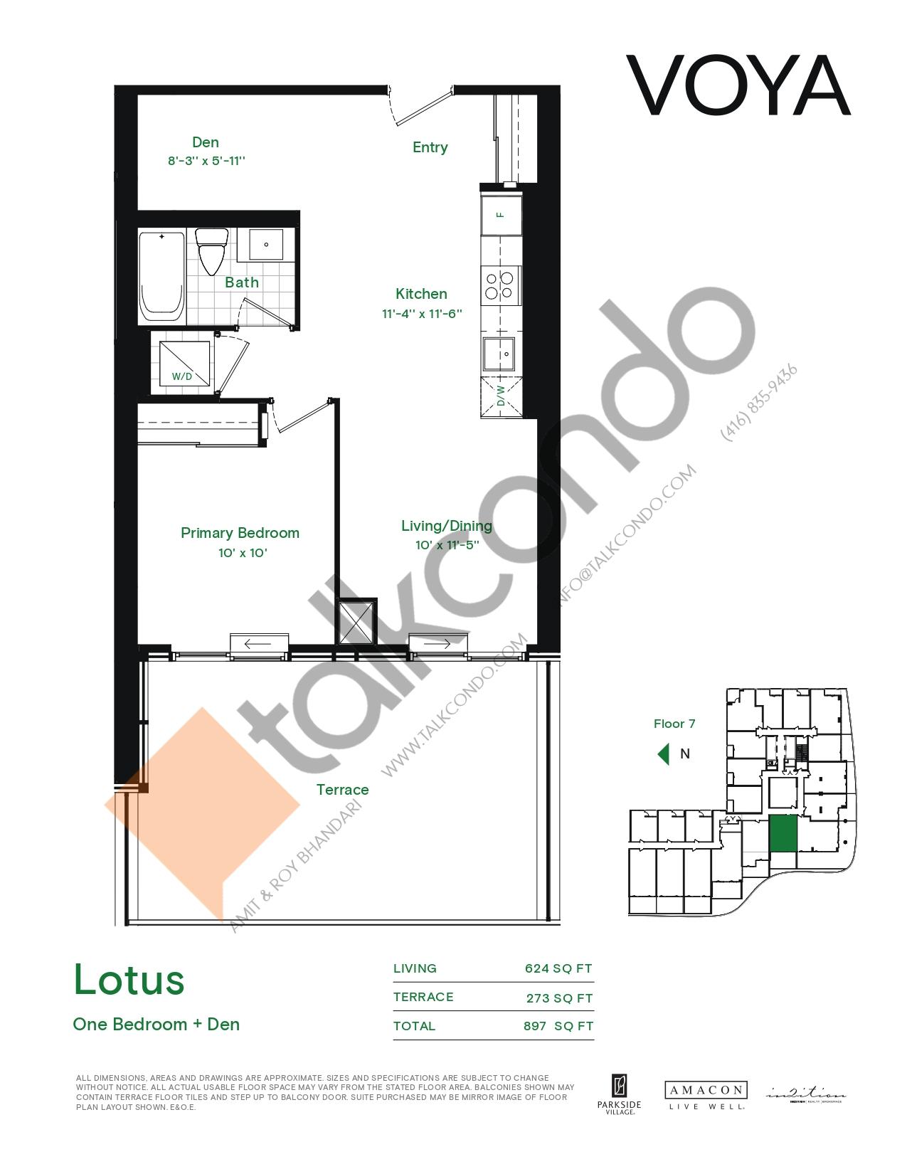 Lotus (Podium) Floor Plan at Voya at Parkside Village Condos - 624 sq.ft