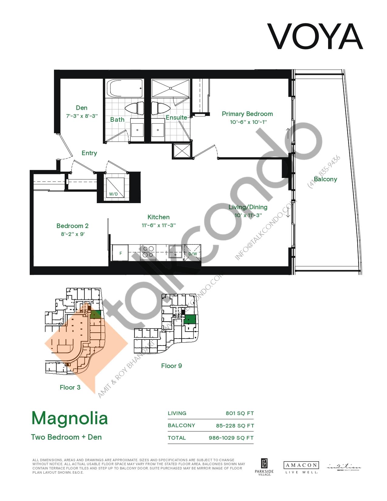Magnolia (Podium) Floor Plan at Voya at Parkside Village Condos - 801 sq.ft