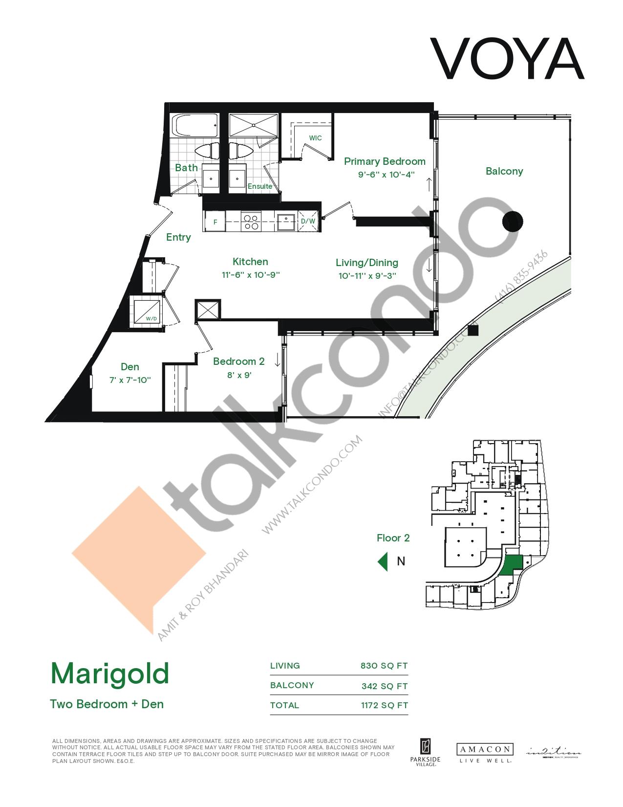 Marigold (Podium) Floor Plan at Voya at Parkside Village Condos - 830 sq.ft