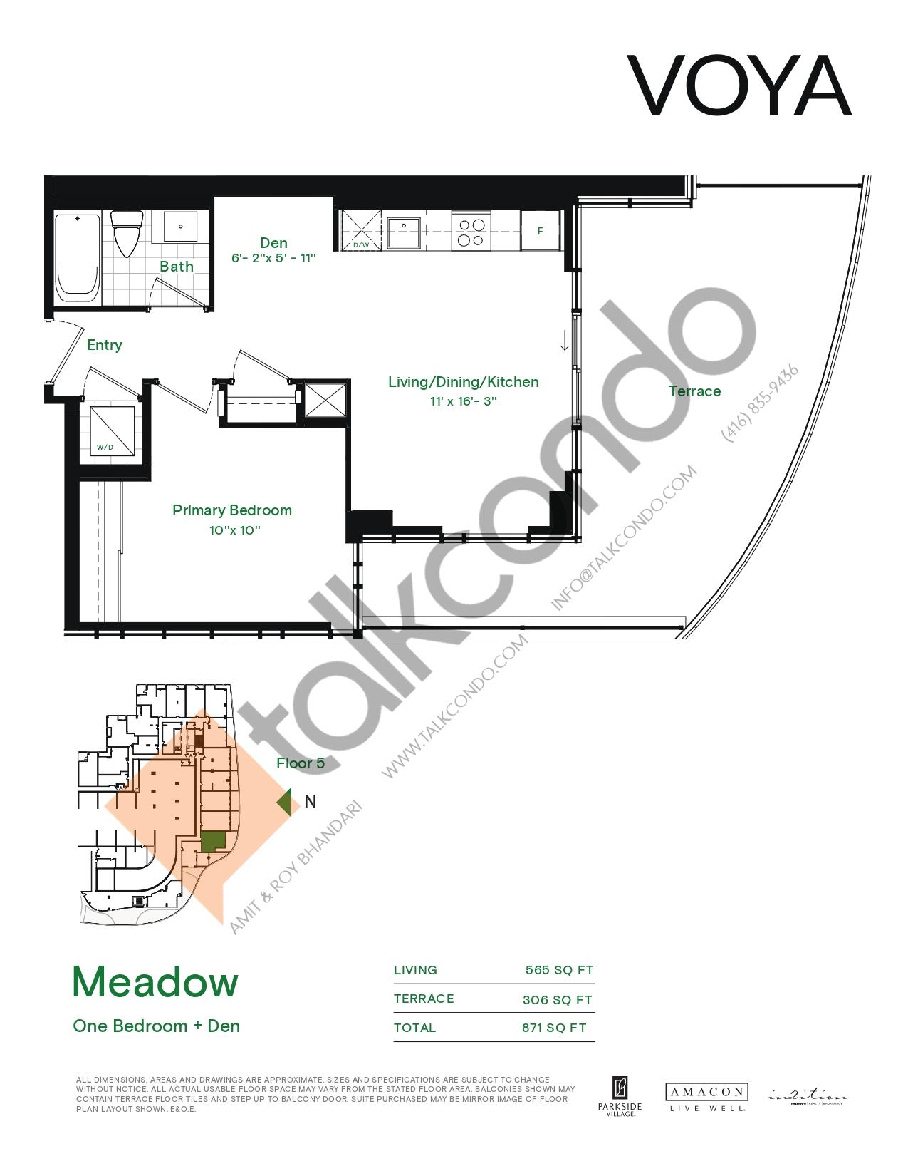 Meadow (Podium) Floor Plan at Voya at Parkside Village Condos - 565 sq.ft