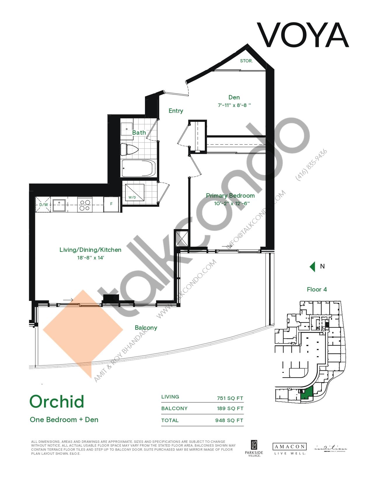 Orchid (Podium) Floor Plan at Voya at Parkside Village Condos - 751 sq.ft
