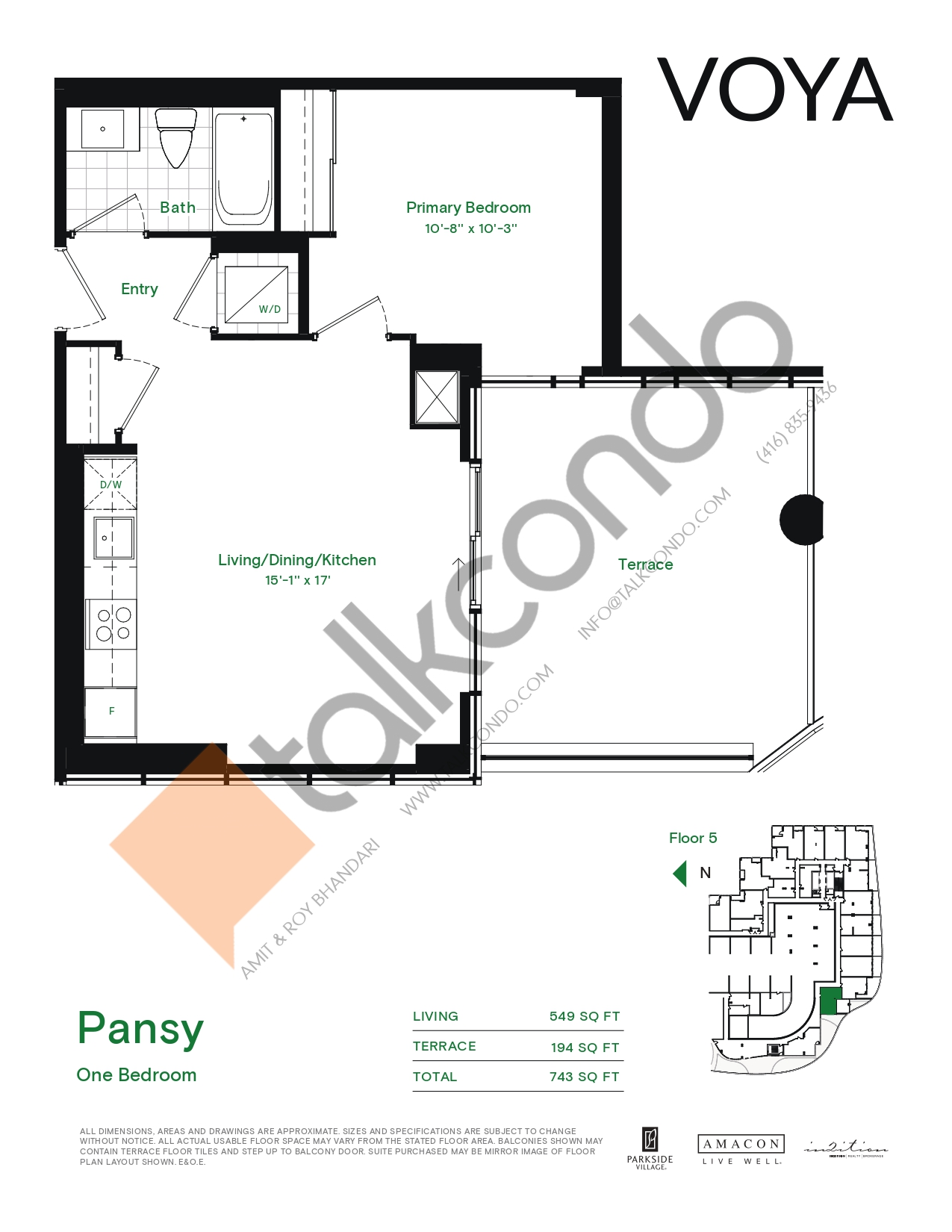 Pansy (Podium) Floor Plan at Voya at Parkside Village Condos - 549 sq.ft
