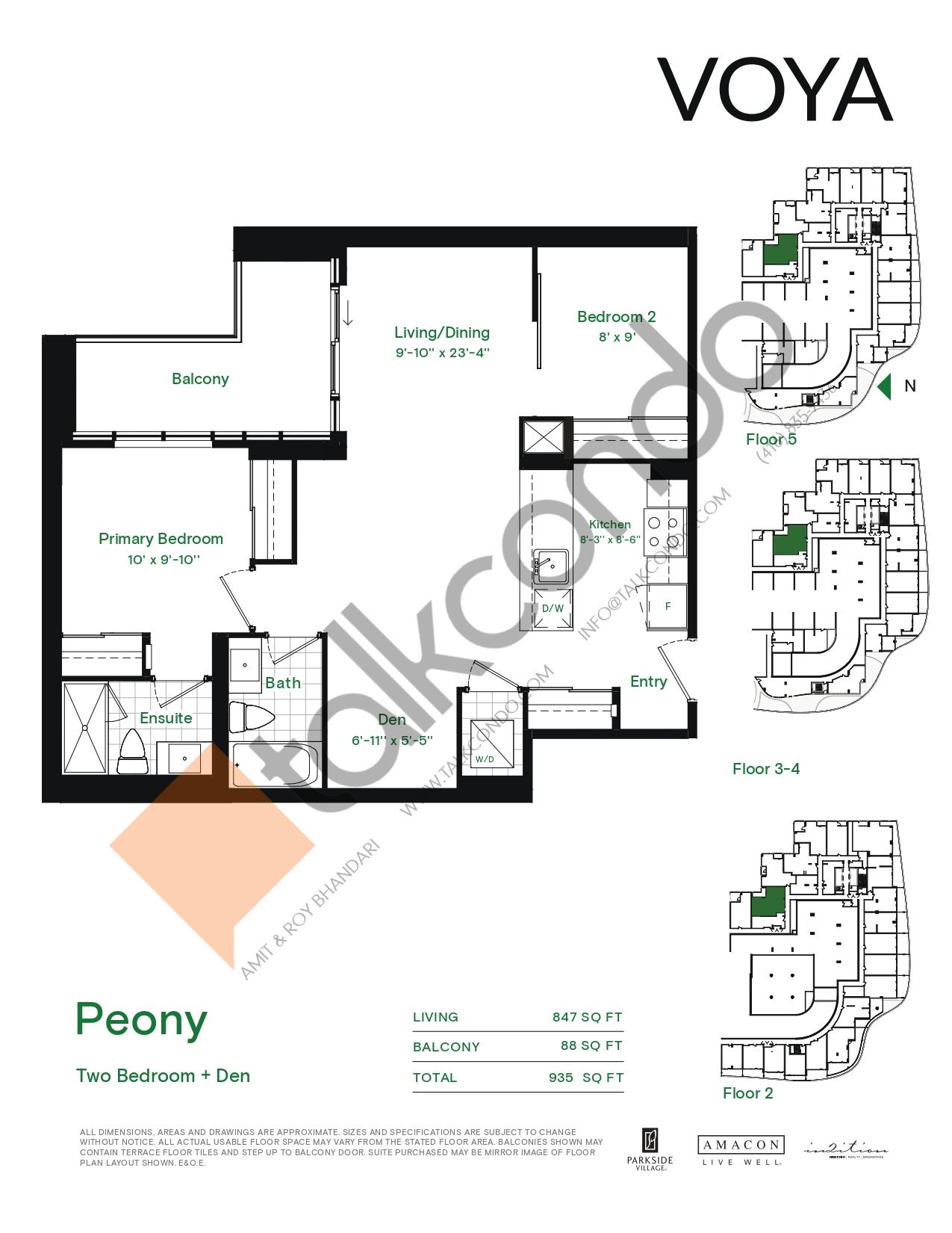Peony (Podium) Floor Plan at Voya at Parkside Village Condos - 847 sq.ft