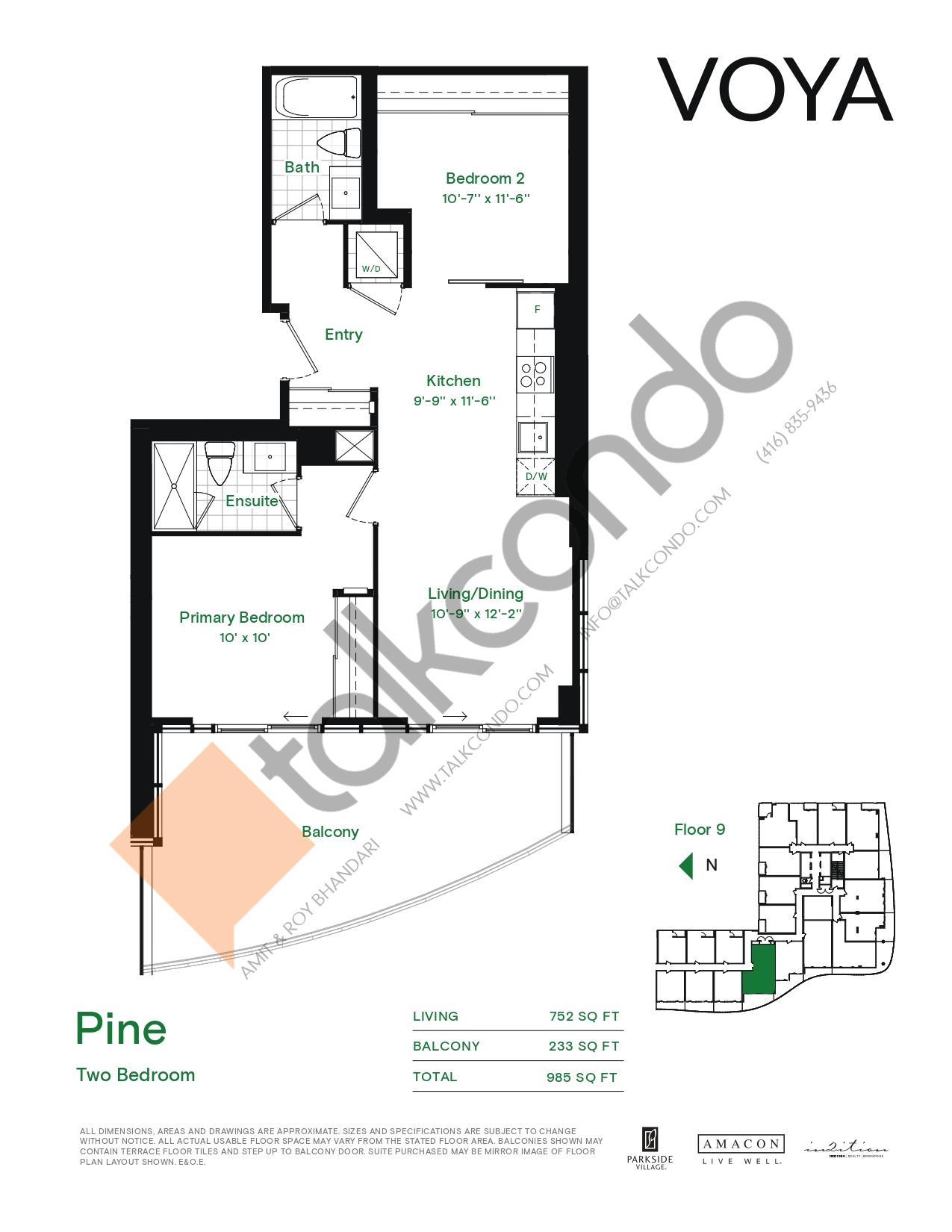 Pine (Podium) Floor Plan at Voya at Parkside Village Condos - 752 sq.ft
