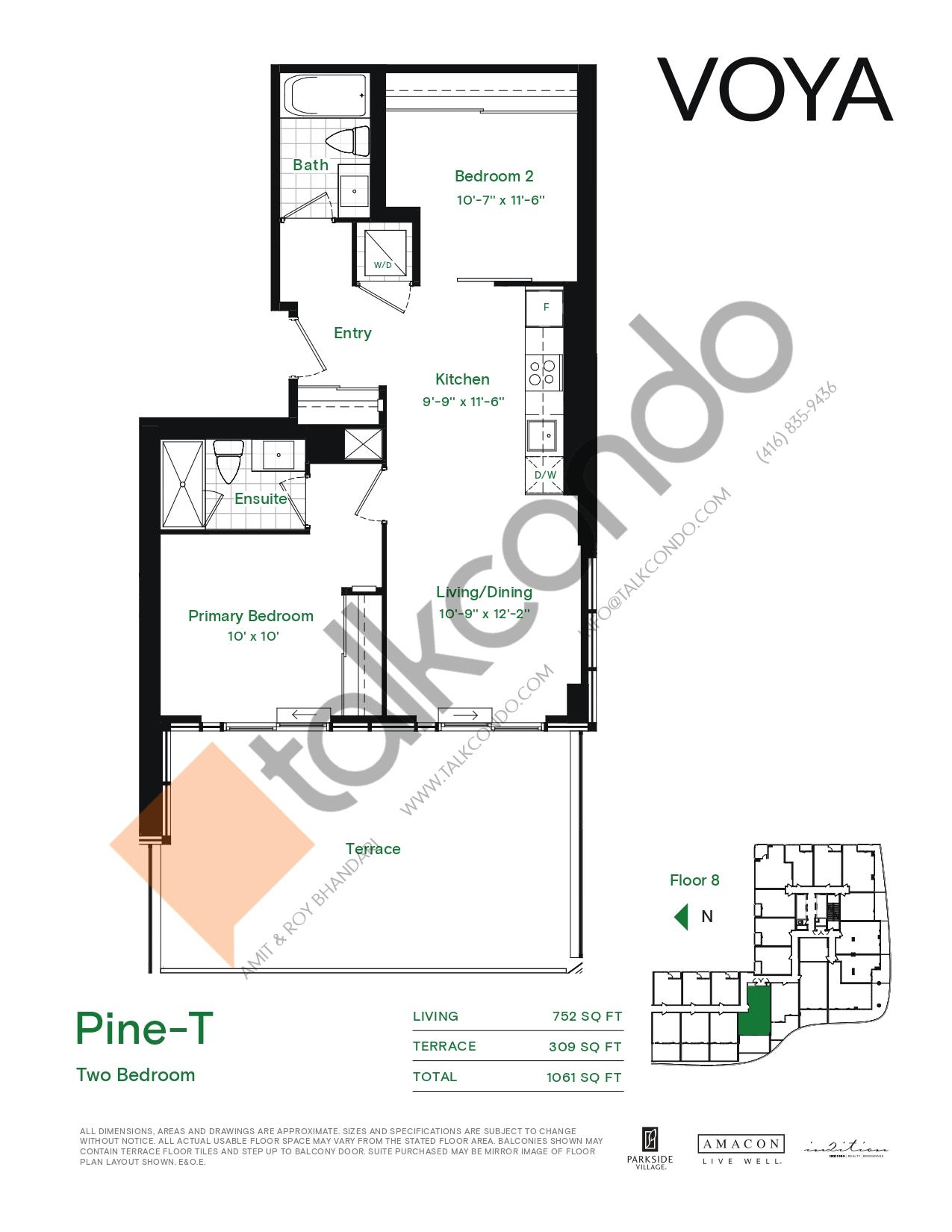 Pine-T (Podium) Floor Plan at Voya at Parkside Village Condos - 752 sq.ft
