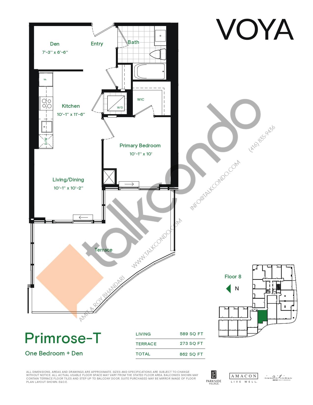 Primrose-T (Podium) Floor Plan at Voya at Parkside Village Condos - 589 sq.ft