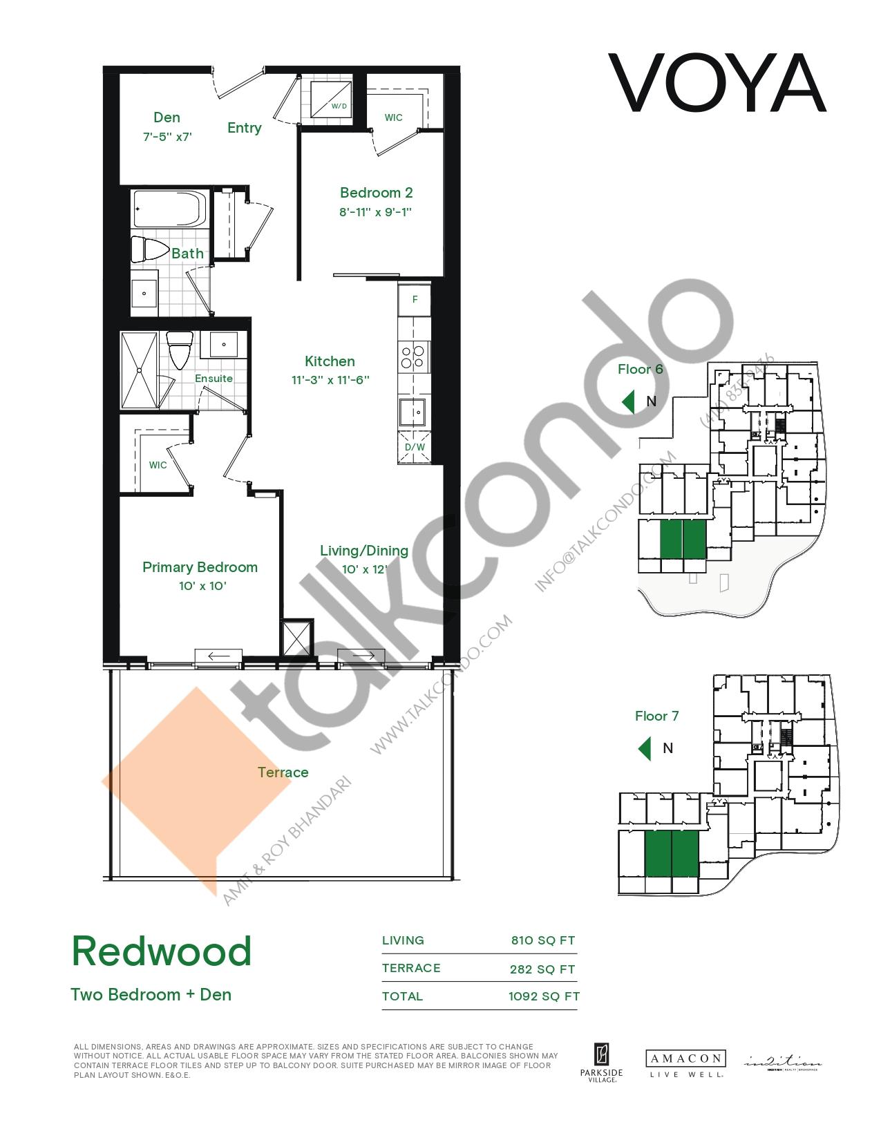 Redwood (Podium) Floor Plan at Voya at Parkside Village Condos - 810 sq.ft