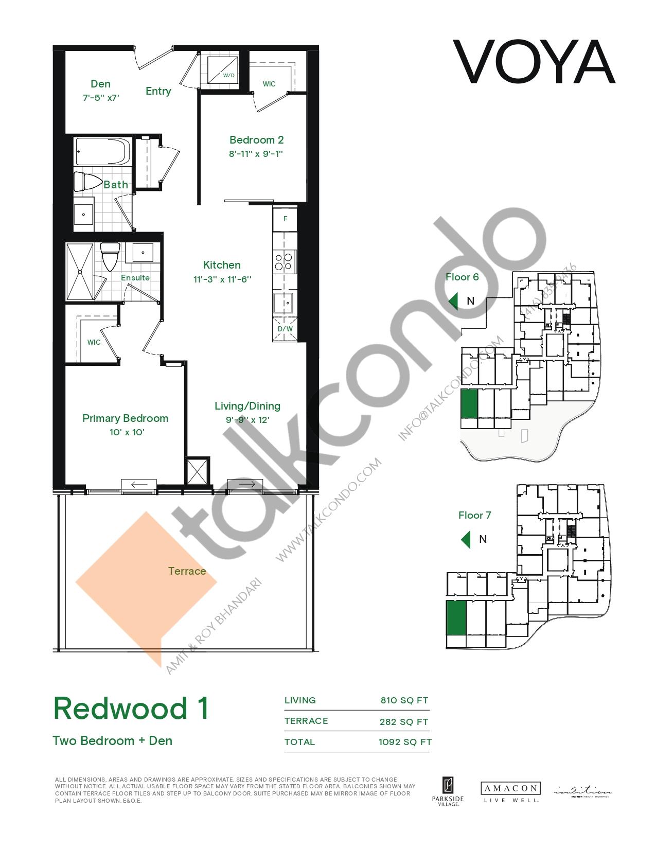Redwood 1 (Podium) Floor Plan at Voya at Parkside Village Condos - 810 sq.ft
