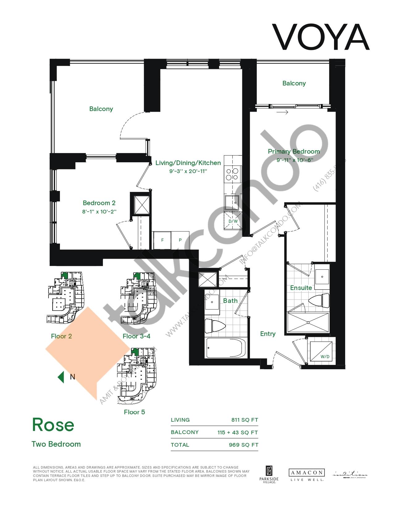 Rose (Podium) Floor Plan at Voya at Parkside Village Condos - 811 sq.ft