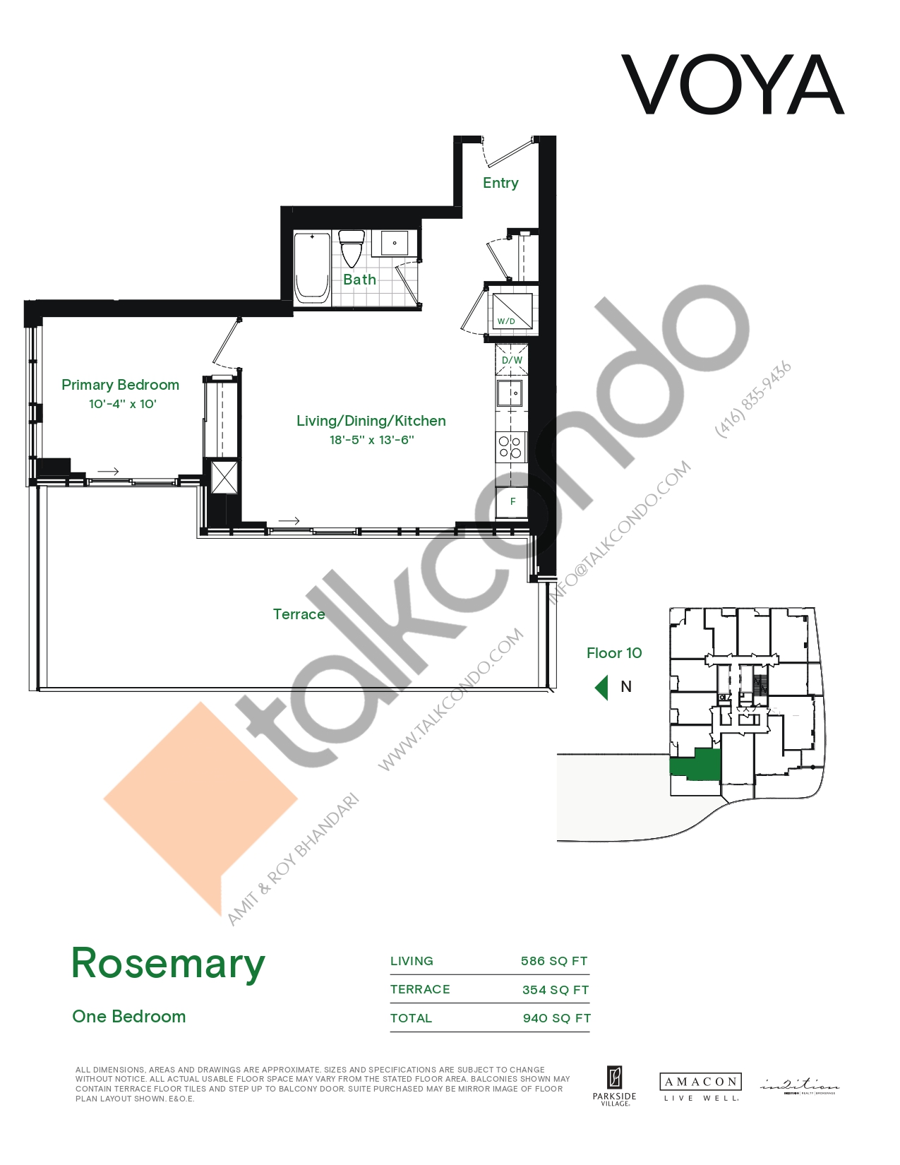 Rosemary (Podium) Floor Plan at Voya at Parkside Village Condos - 586 sq.ft