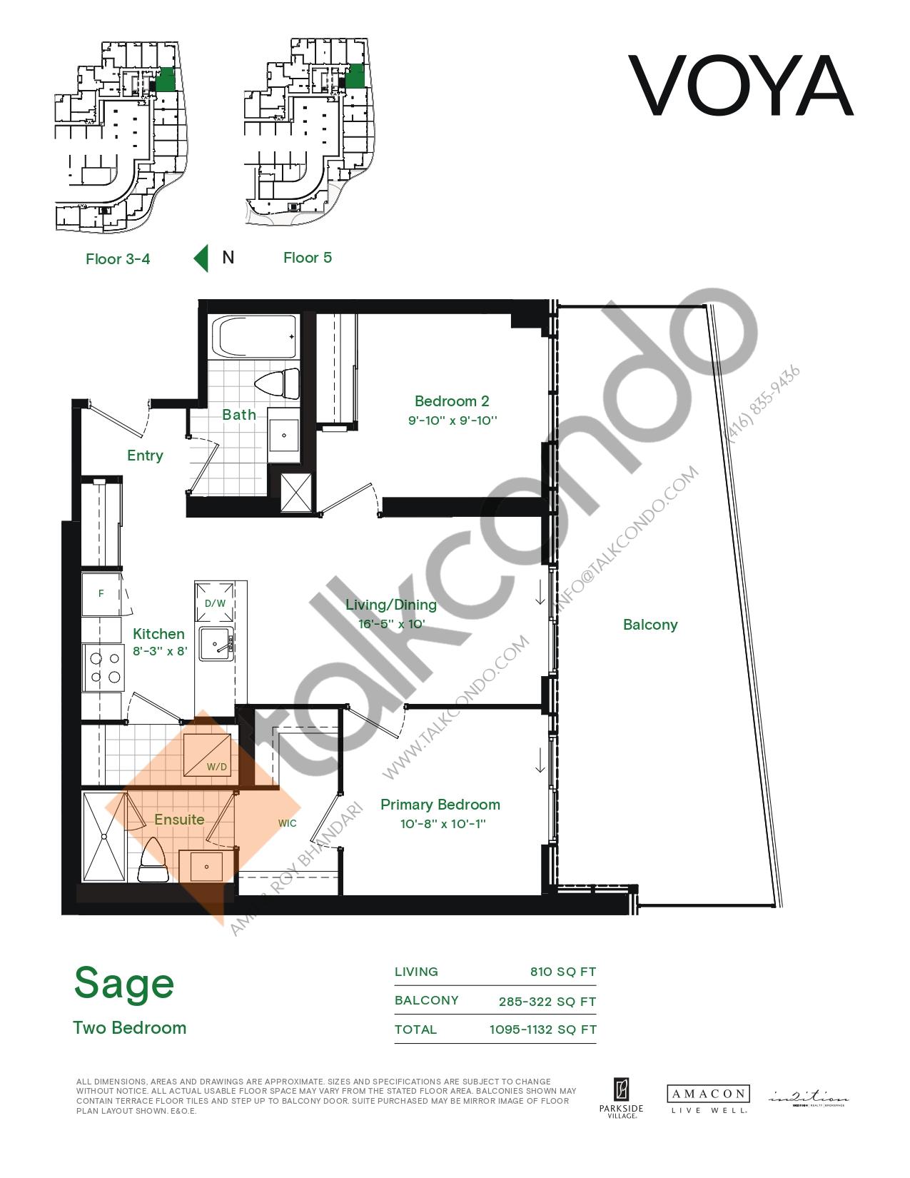 Sage (Podium) Floor Plan at Voya at Parkside Village Condos - 810 sq.ft