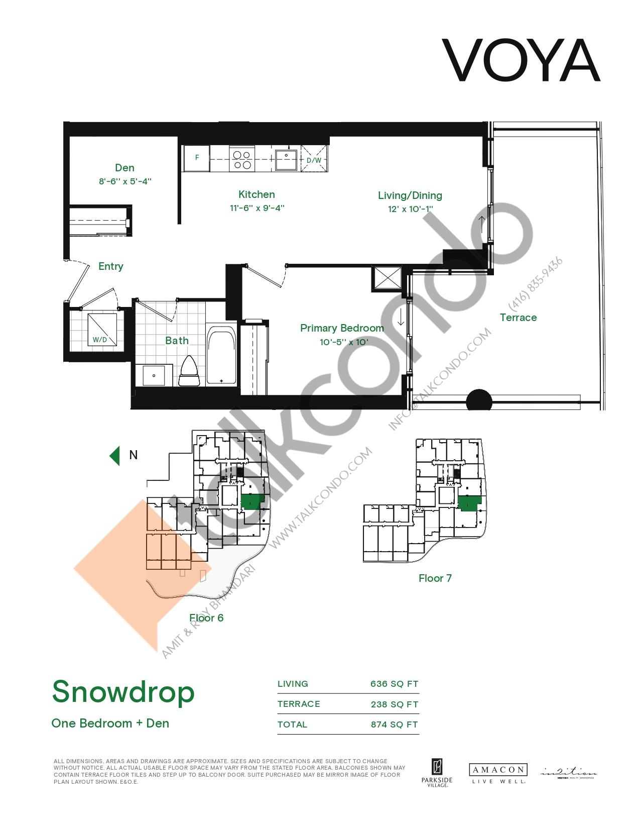 Snowdrop (Podium) Floor Plan at Voya at Parkside Village Condos - 636 sq.ft