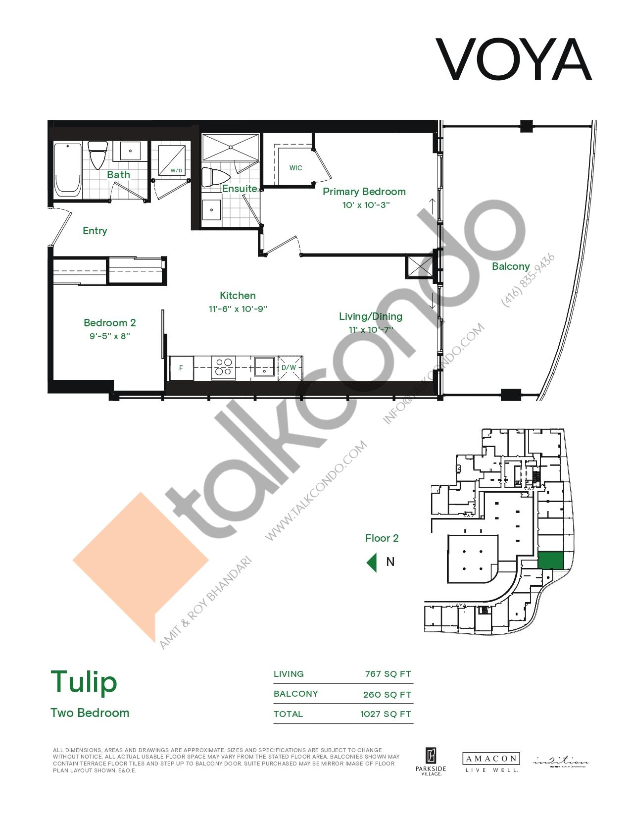 Tulip (Podium) Floor Plan at Voya at Parkside Village Condos - 767 sq.ft