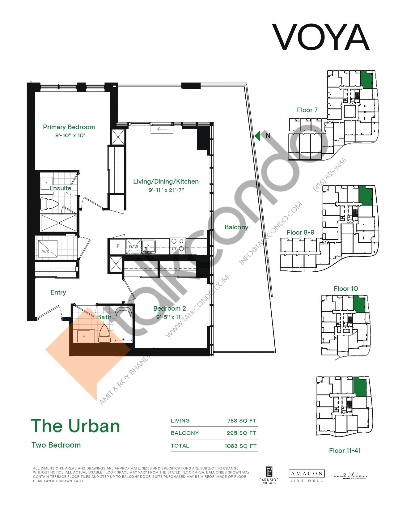 The Urban (Podium) Floor Plan at Voya at Parkside Village Condos - 788 sq.ft