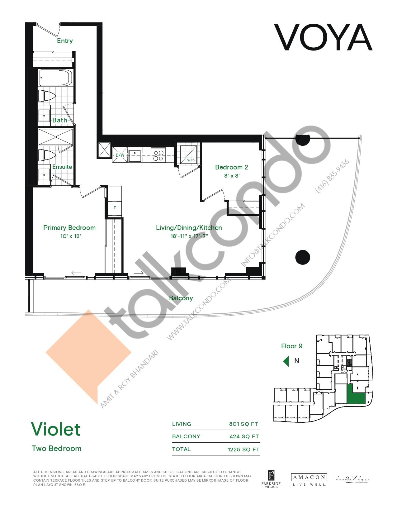 Violet (Podium) Floor Plan at Voya at Parkside Village Condos - 801 sq.ft