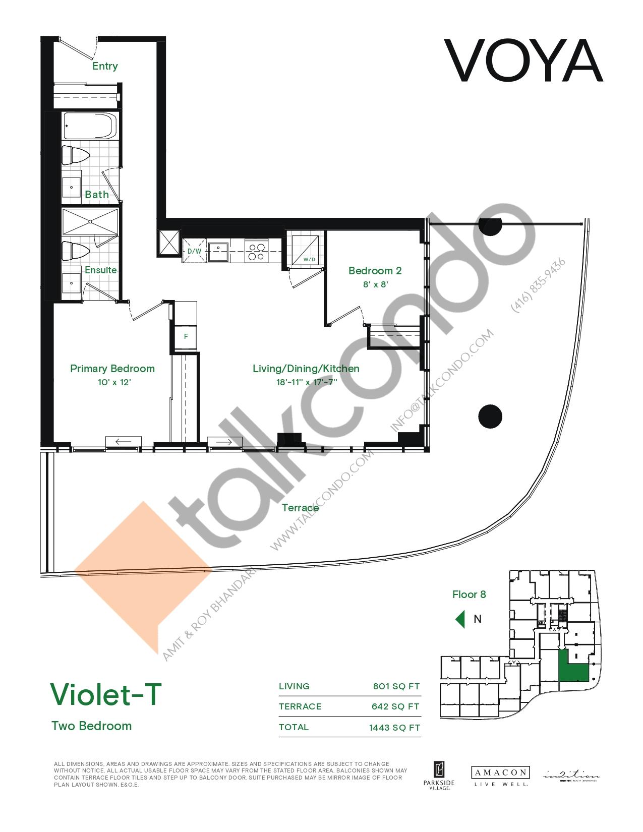 Violet-T (Podium) Floor Plan at Voya at Parkside Village Condos - 801 sq.ft