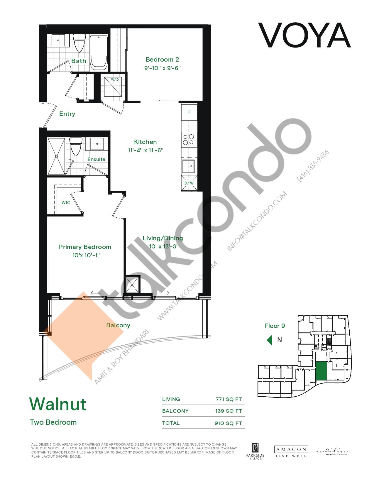 Walnut (Podium) Floor Plan at Voya at Parkside Village Condos - 771 sq.ft