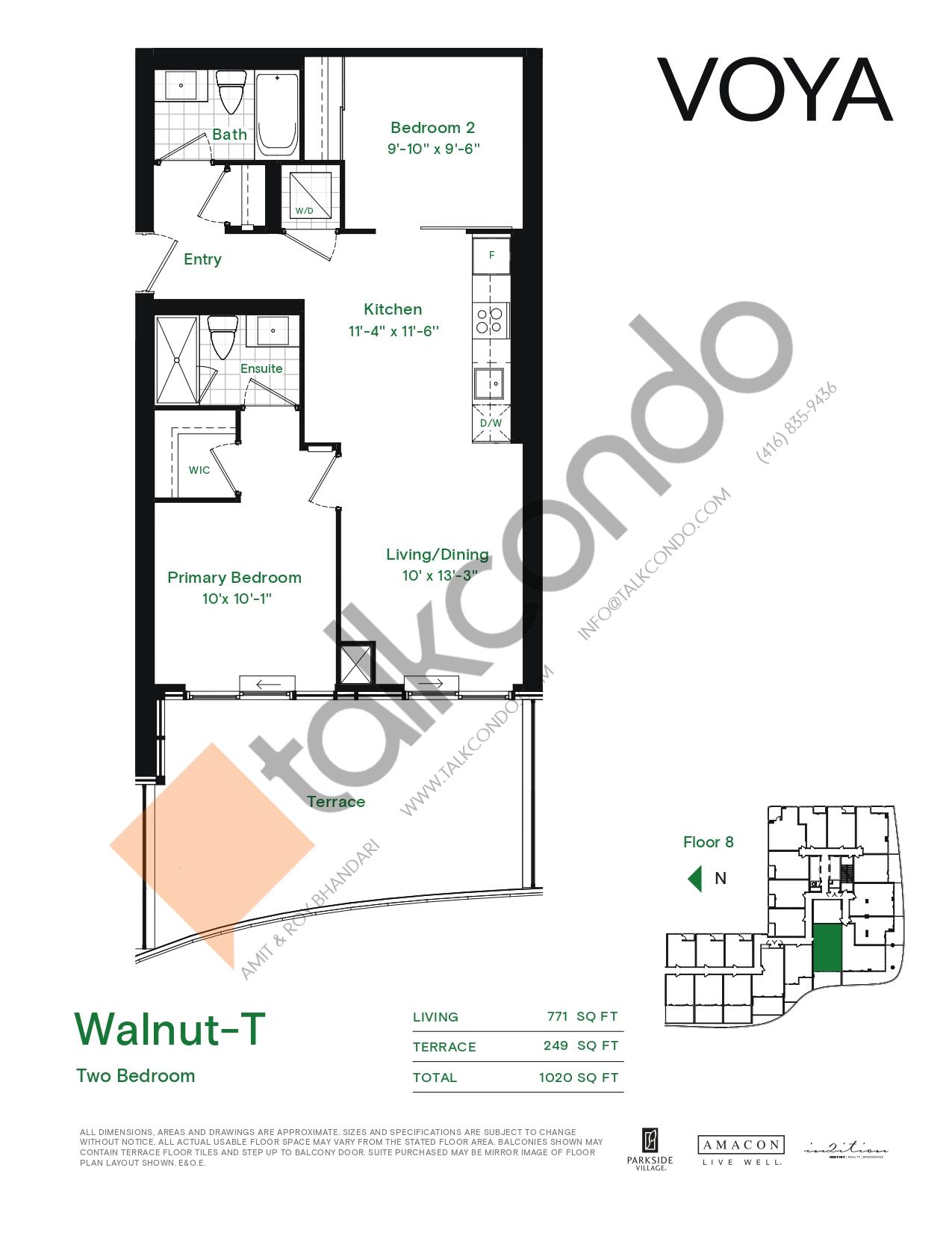 Walnut-T (Podium) Floor Plan at Voya at Parkside Village Condos - 771 sq.ft