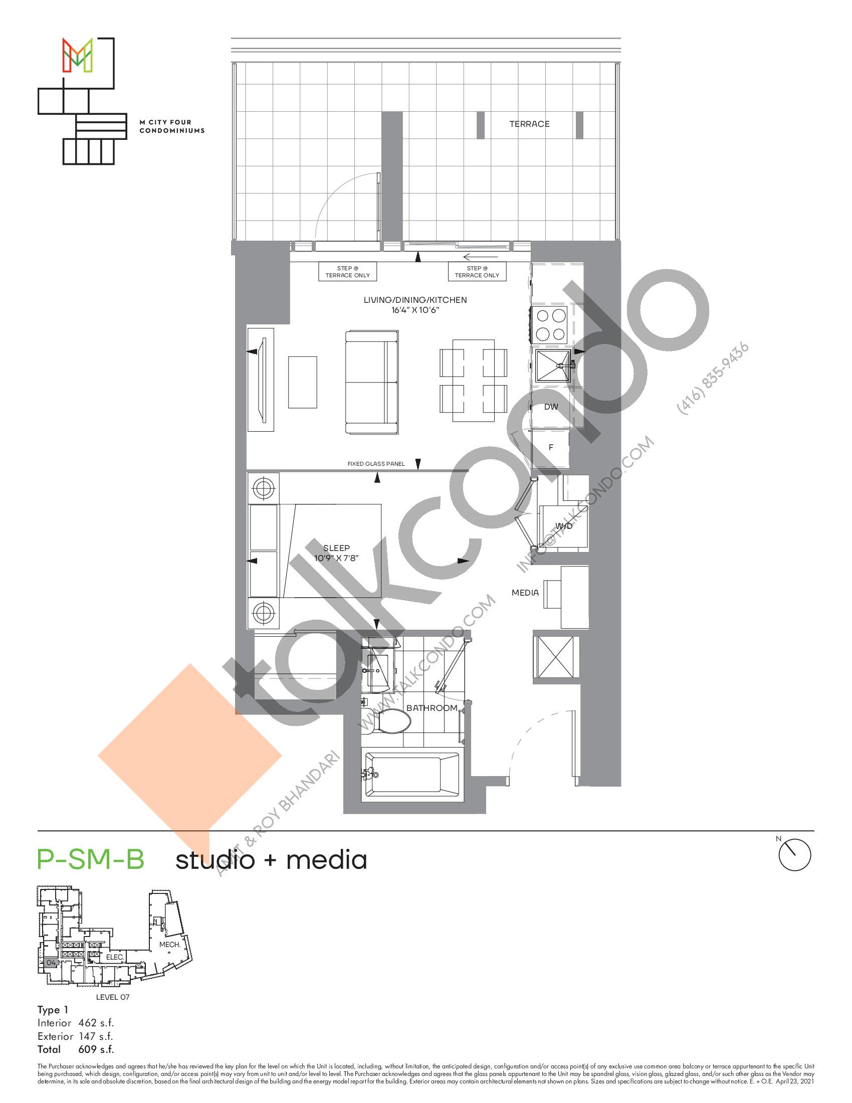 P-SM-B (Podium) Floor Plan at M4 Condos - 462 sq.ft