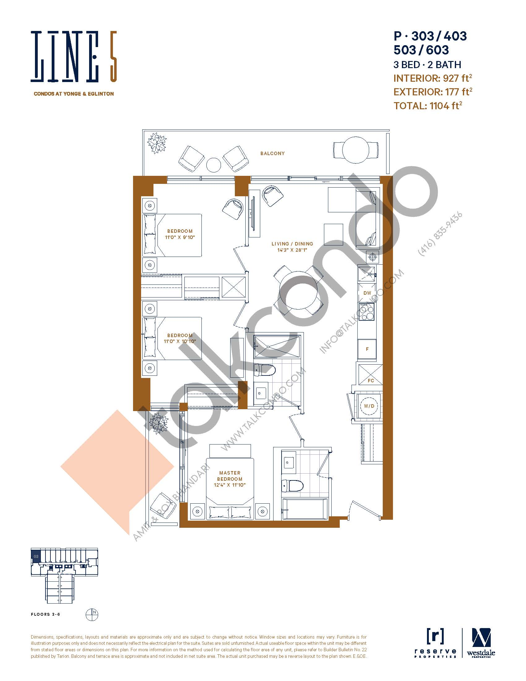 P-303 / 403 / 503 / 603 Floor Plan at Line 5 South Tower Condos - 927 sq.ft
