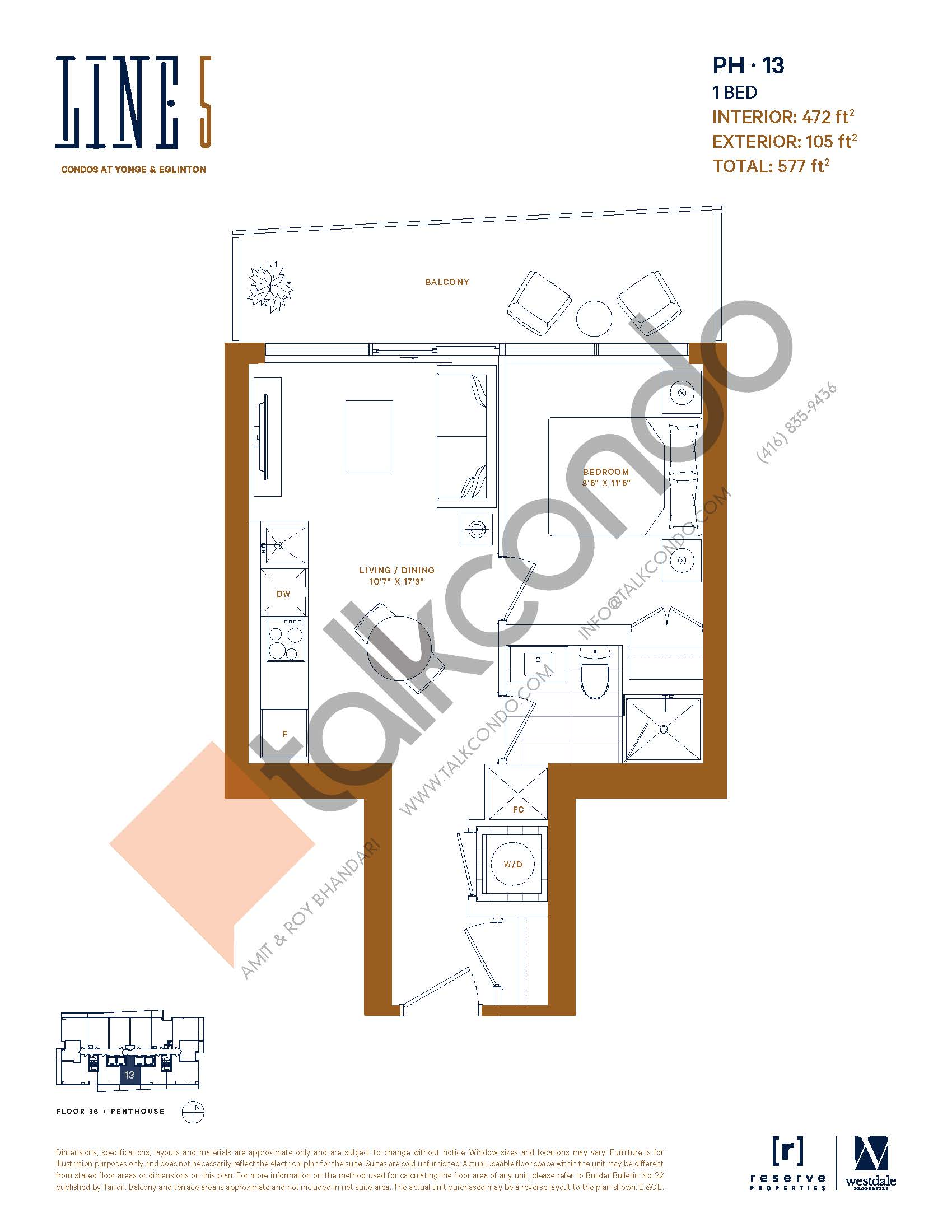 PH-13 Floor Plan at Line 5 South Tower Condos - 472 sq.ft