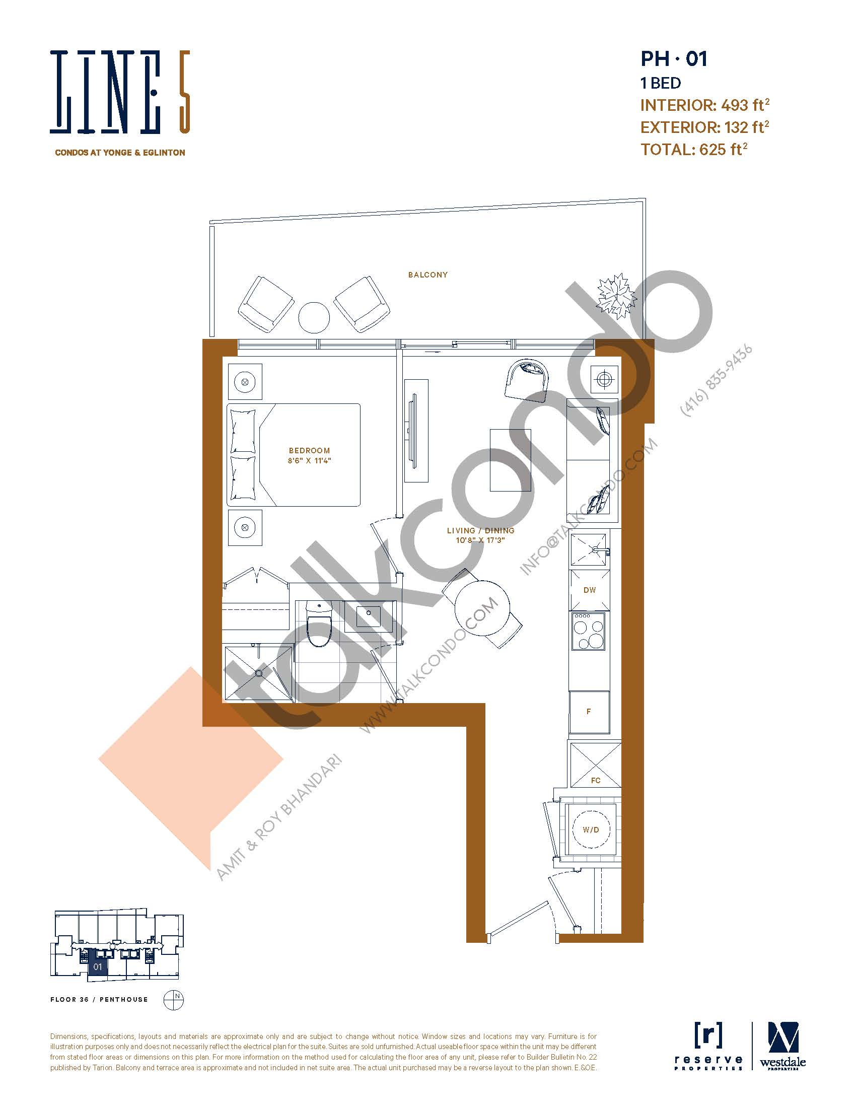 PH-01 Floor Plan at Line 5 South Tower Condos - 493 sq.ft