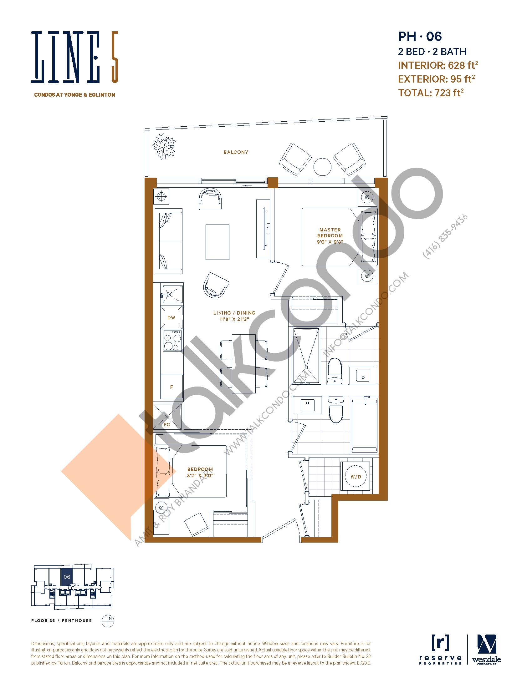 PH-06 Floor Plan at Line 5 South Tower Condos - 628 sq.ft