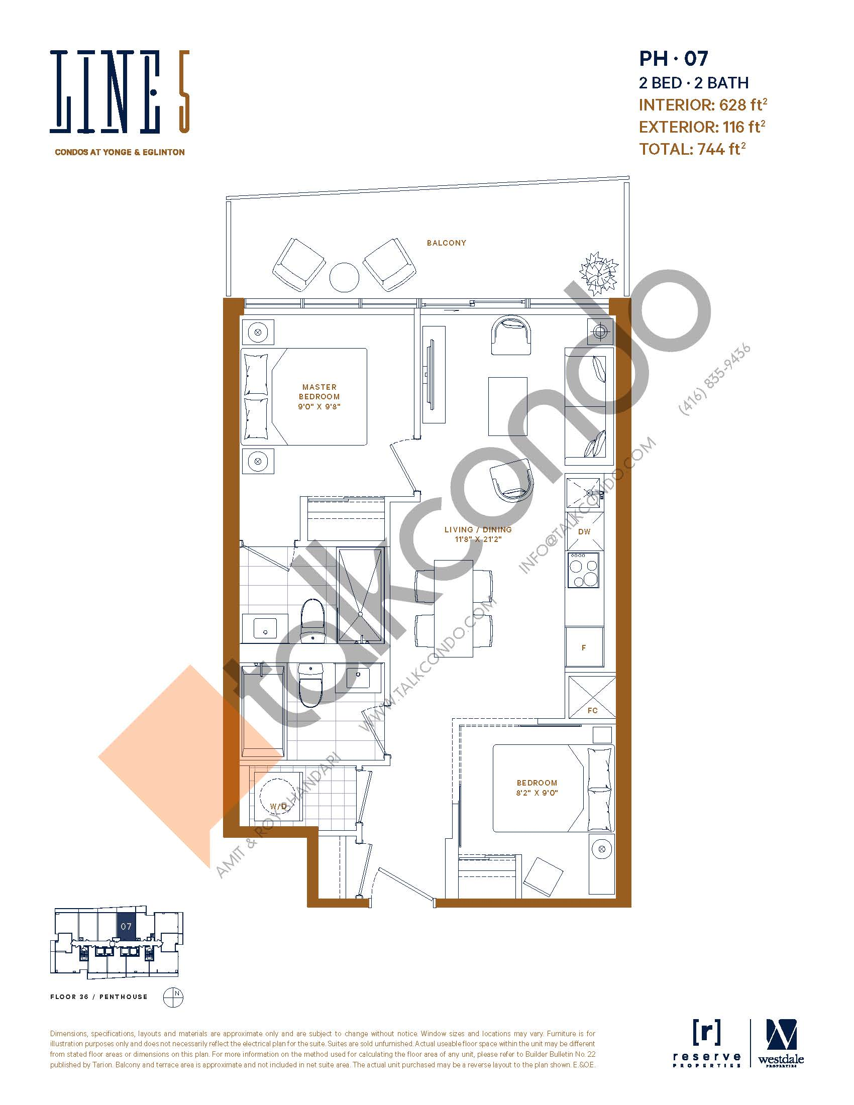 PH-07 Floor Plan at Line 5 South Tower Condos - 628 sq.ft