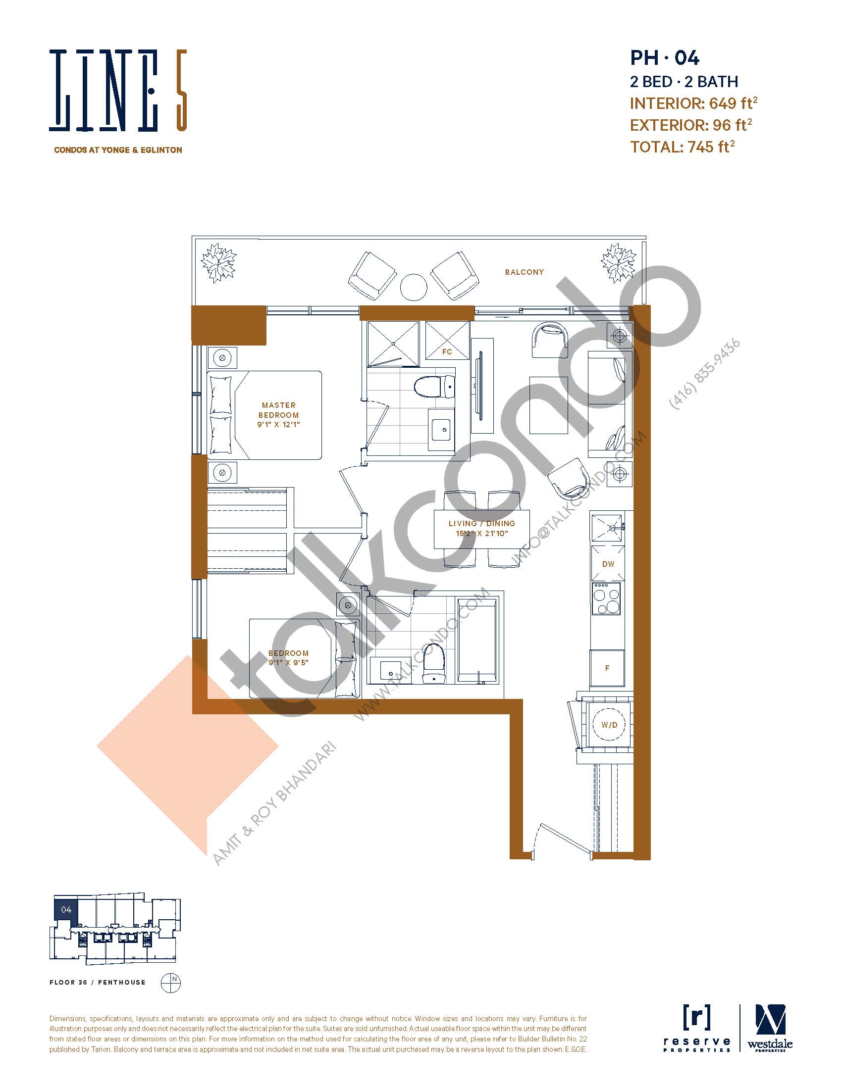 PH-04 Floor Plan at Line 5 South Tower Condos - 649 sq.ft