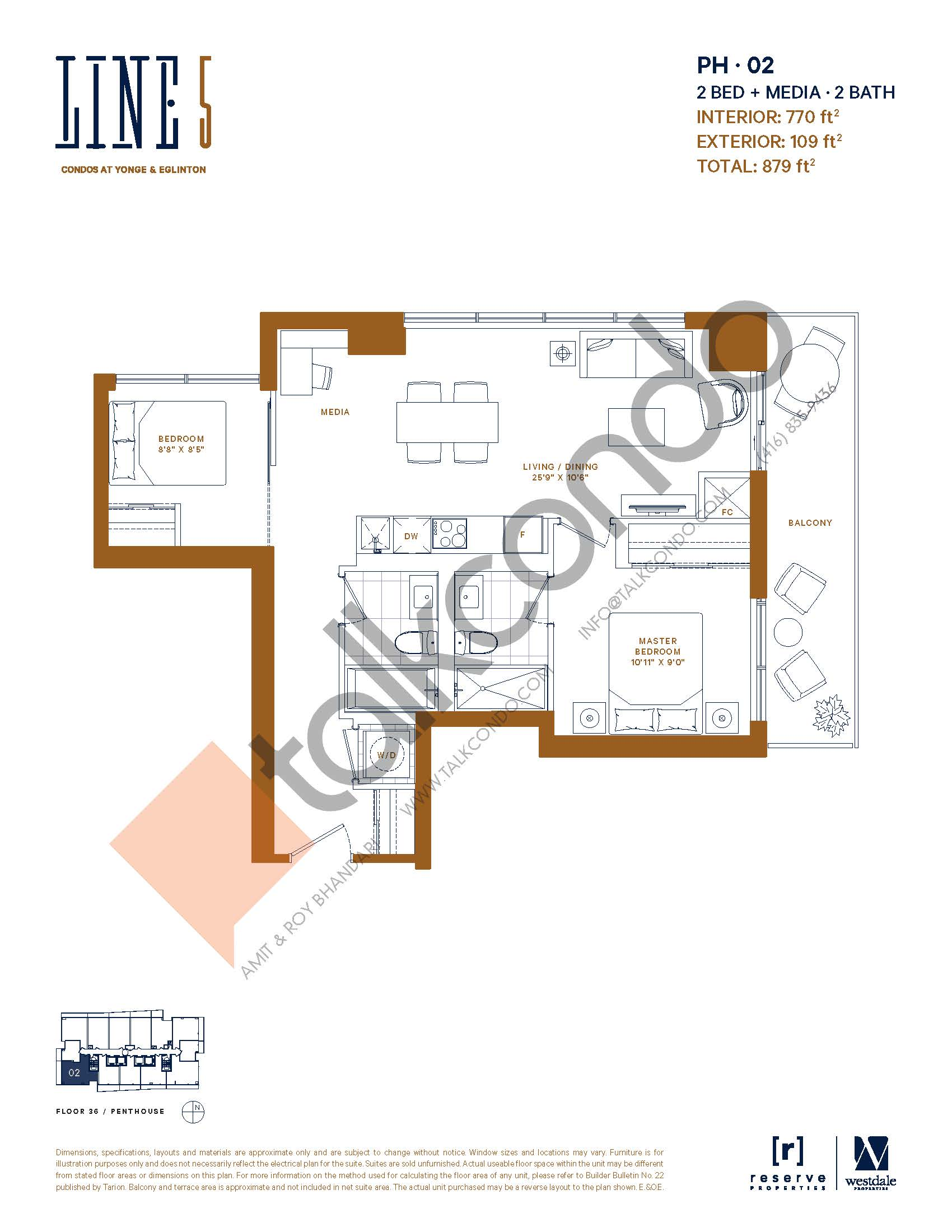 PH-02 Floor Plan at Line 5 South Tower Condos - 770 sq.ft