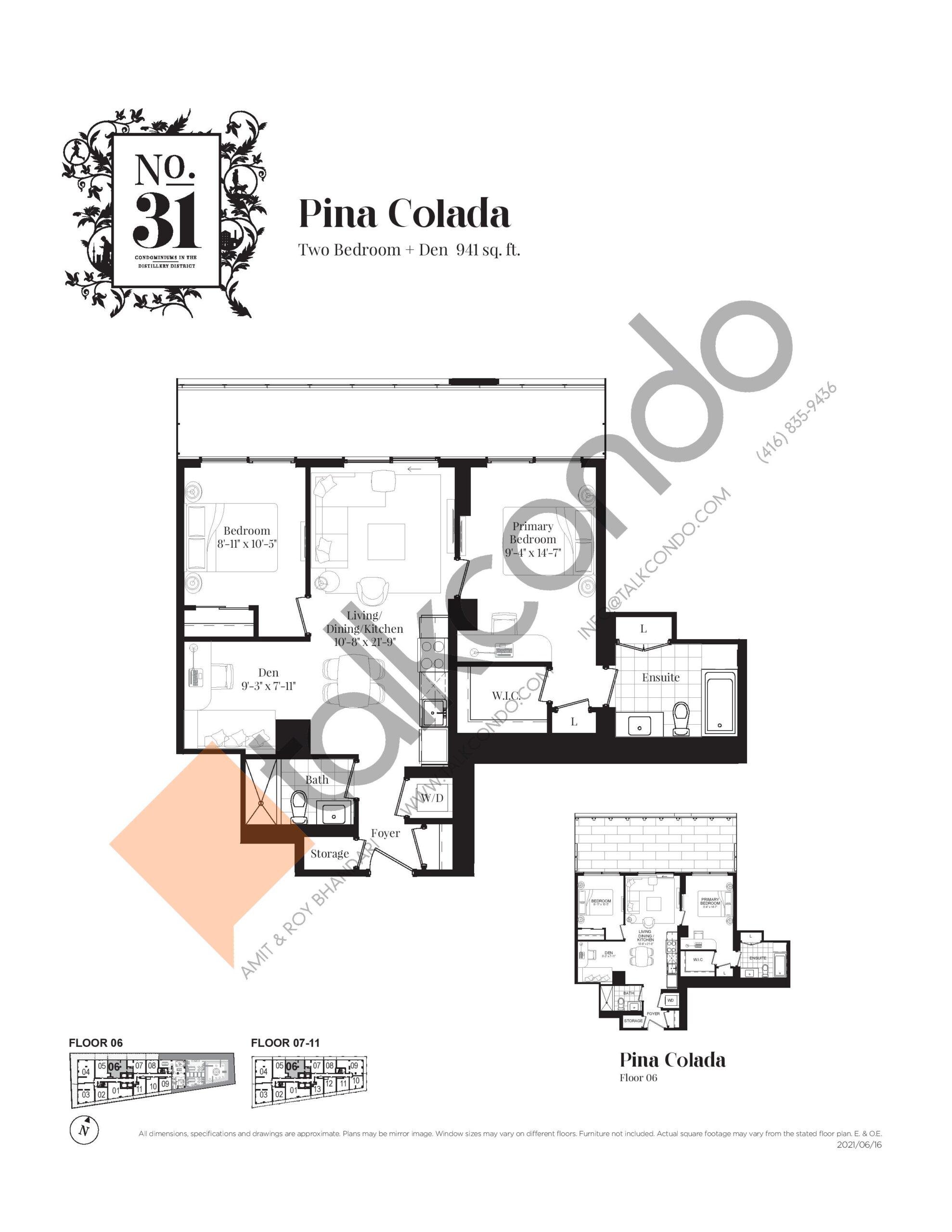 Pina Colada Floor Plan at No. 31 Condos - 941 sq.ft