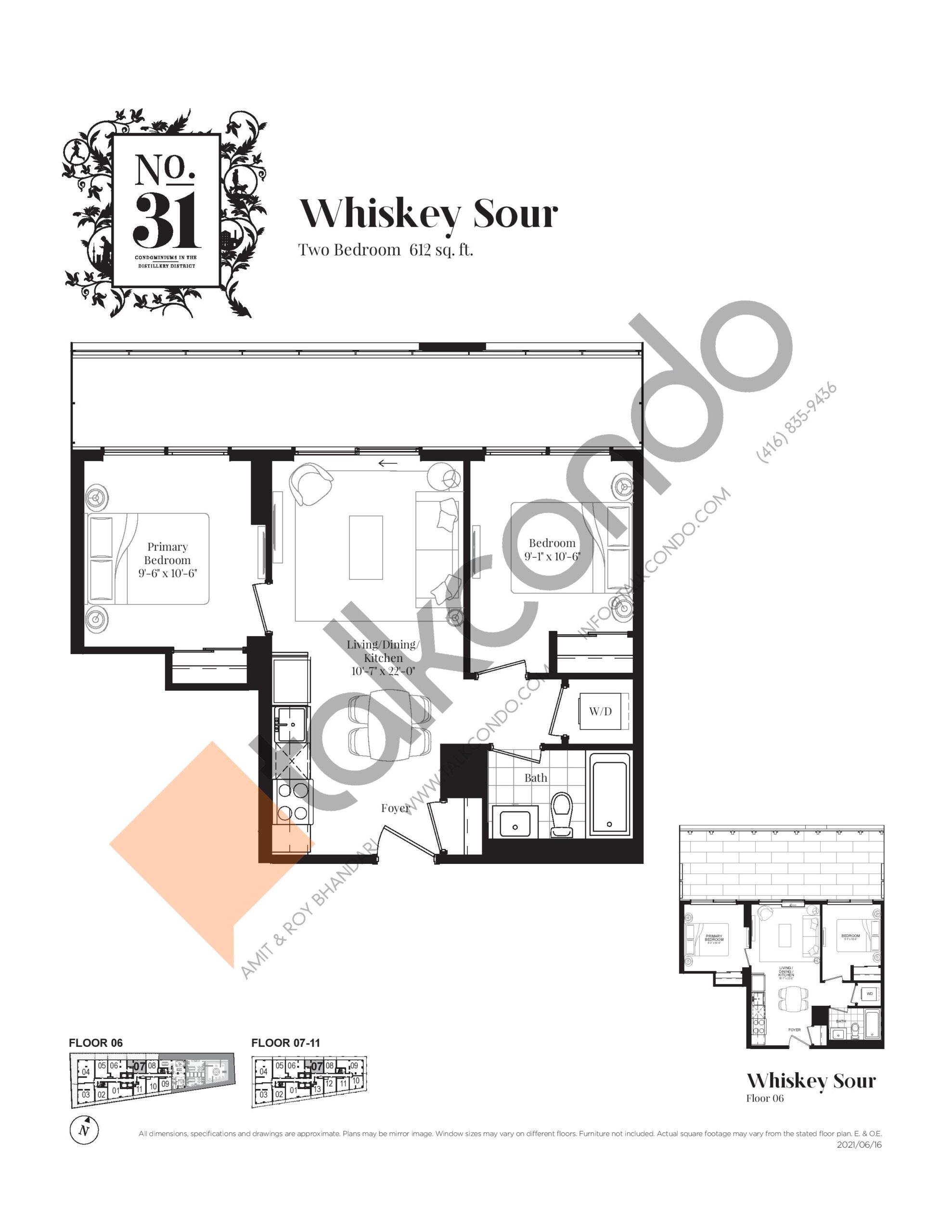 Whiskey Sour Floor Plan at No. 31 Condos - 612 sq.ft