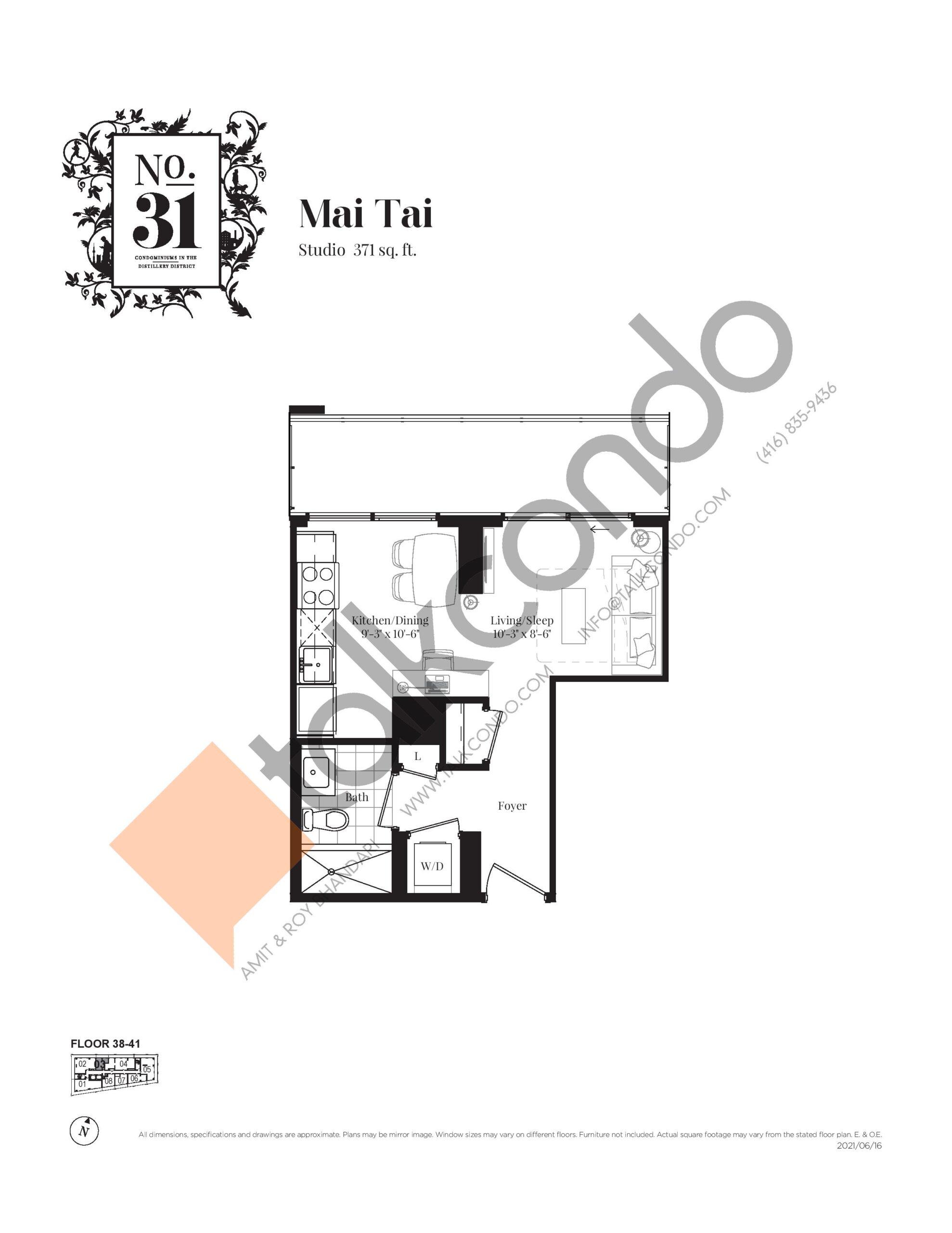 Mai Tai Floor Plan at No. 31 Condos - 371 sq.ft