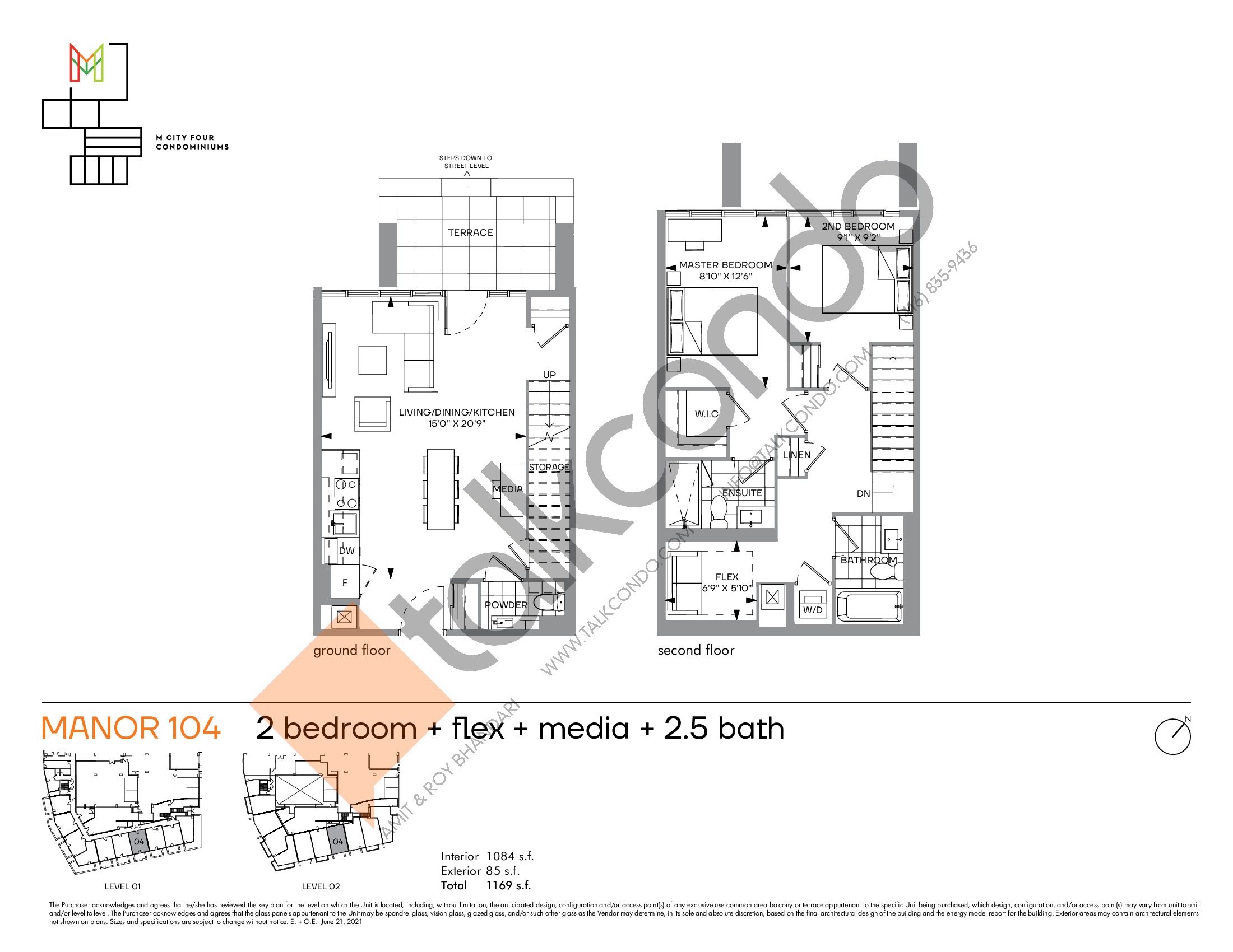 Manor 104 Floor Plan at M4 Condos - 1084 sq.ft