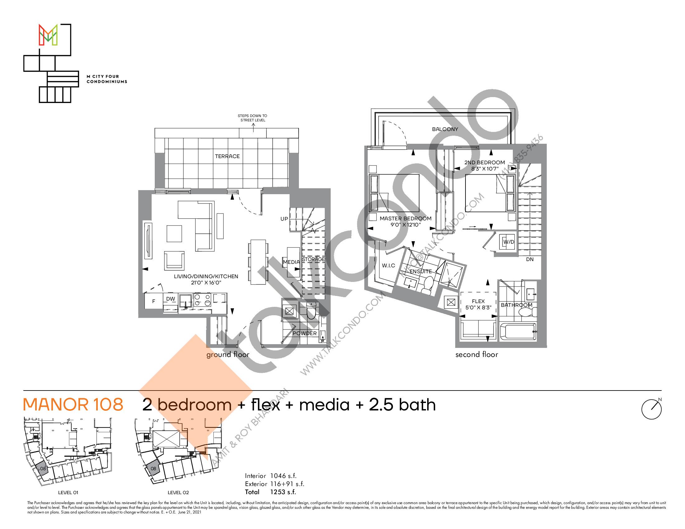 Manor 108 Floor Plan at M4 Condos - 1046 sq.ft