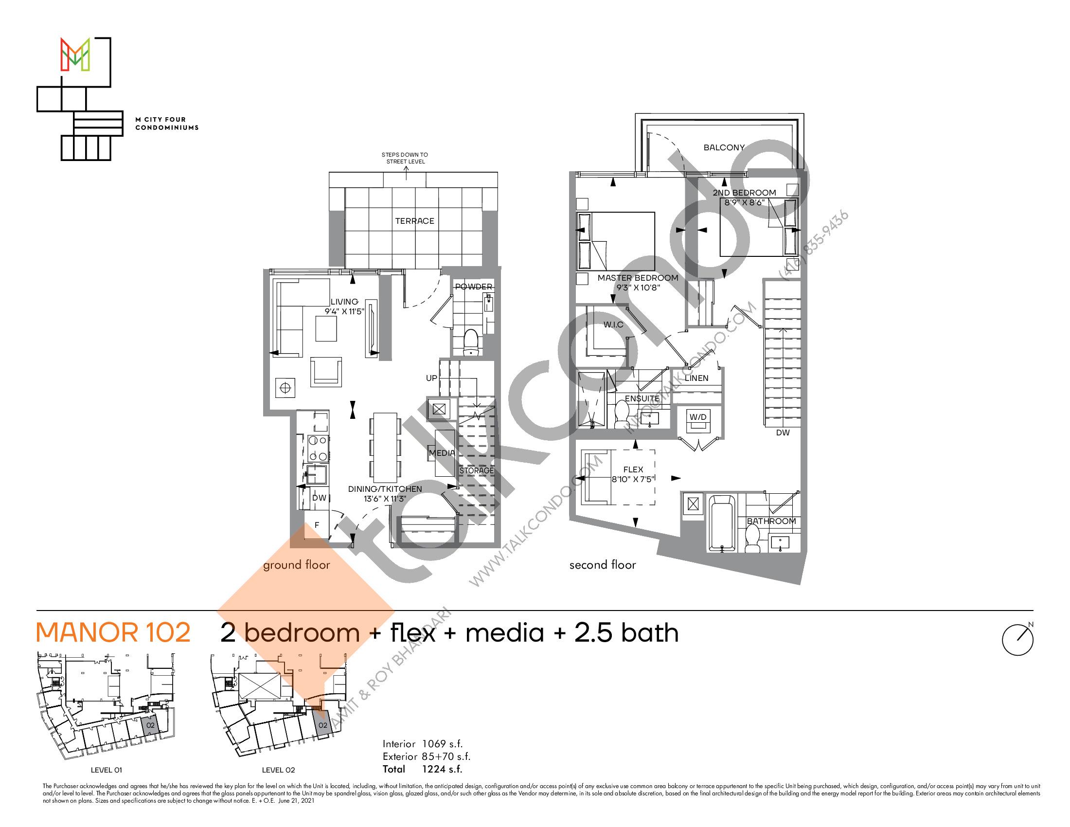 Manor 102 Floor Plan at M4 Condos - 1069 sq.ft