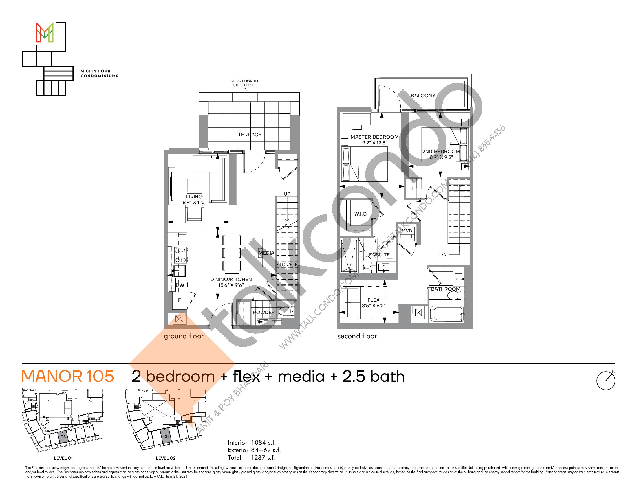 Manor 105 Floor Plan at M4 Condos - 1084 sq.ft
